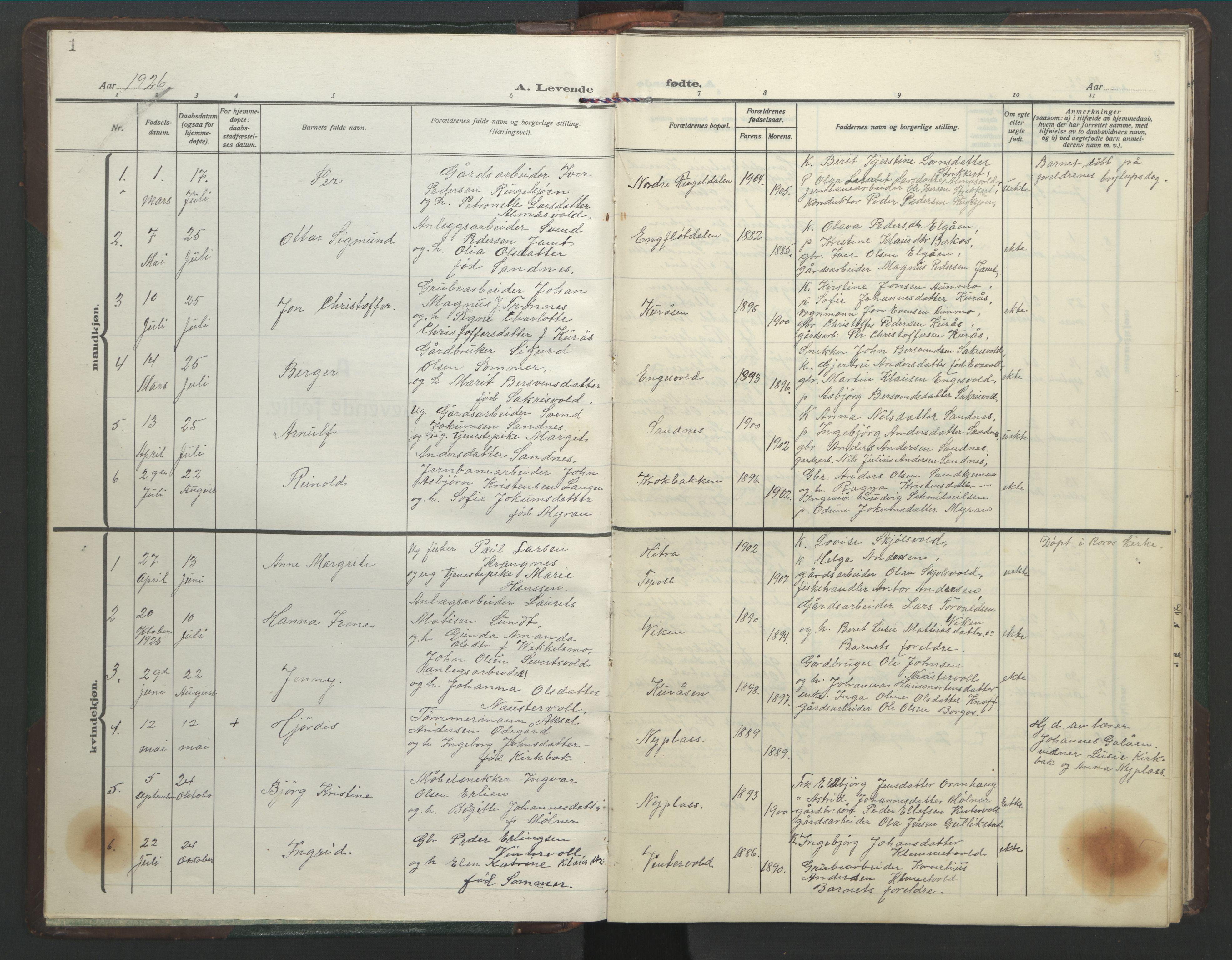 SAT, Ministerialprotokoller, klokkerbøker og fødselsregistre - Sør-Trøndelag, 682/L0947: Klokkerbok nr. 682C01, 1926-1968, s. 1