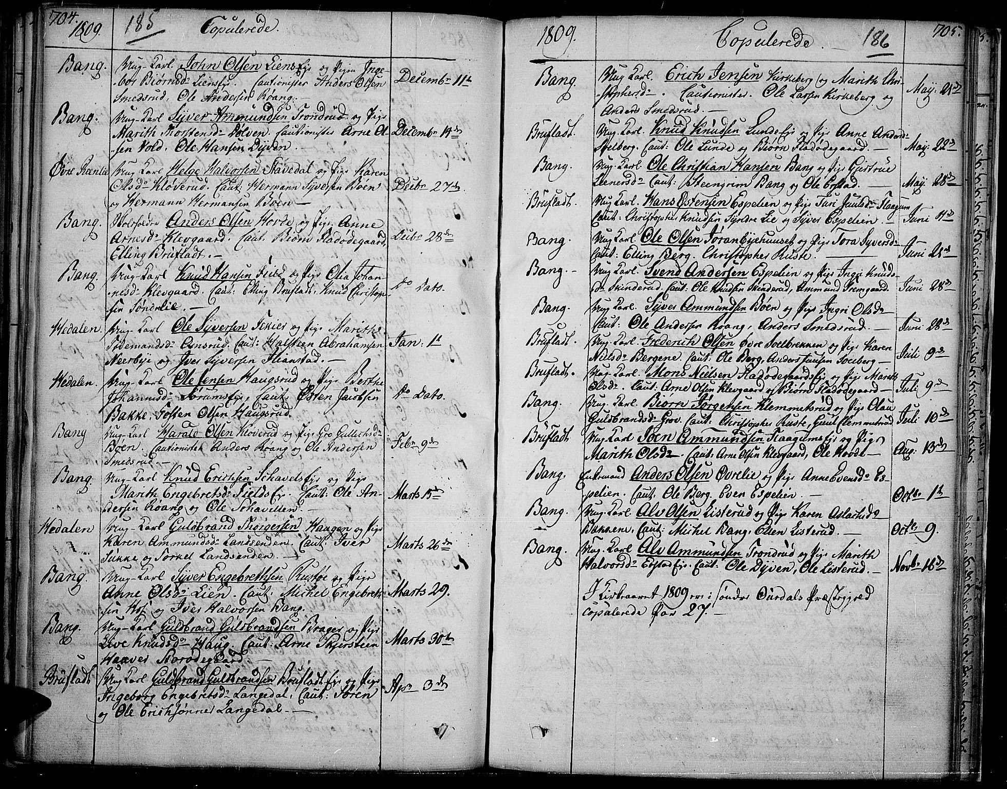 SAH, Sør-Aurdal prestekontor, Ministerialbok nr. 1, 1807-1815, s. 185-186