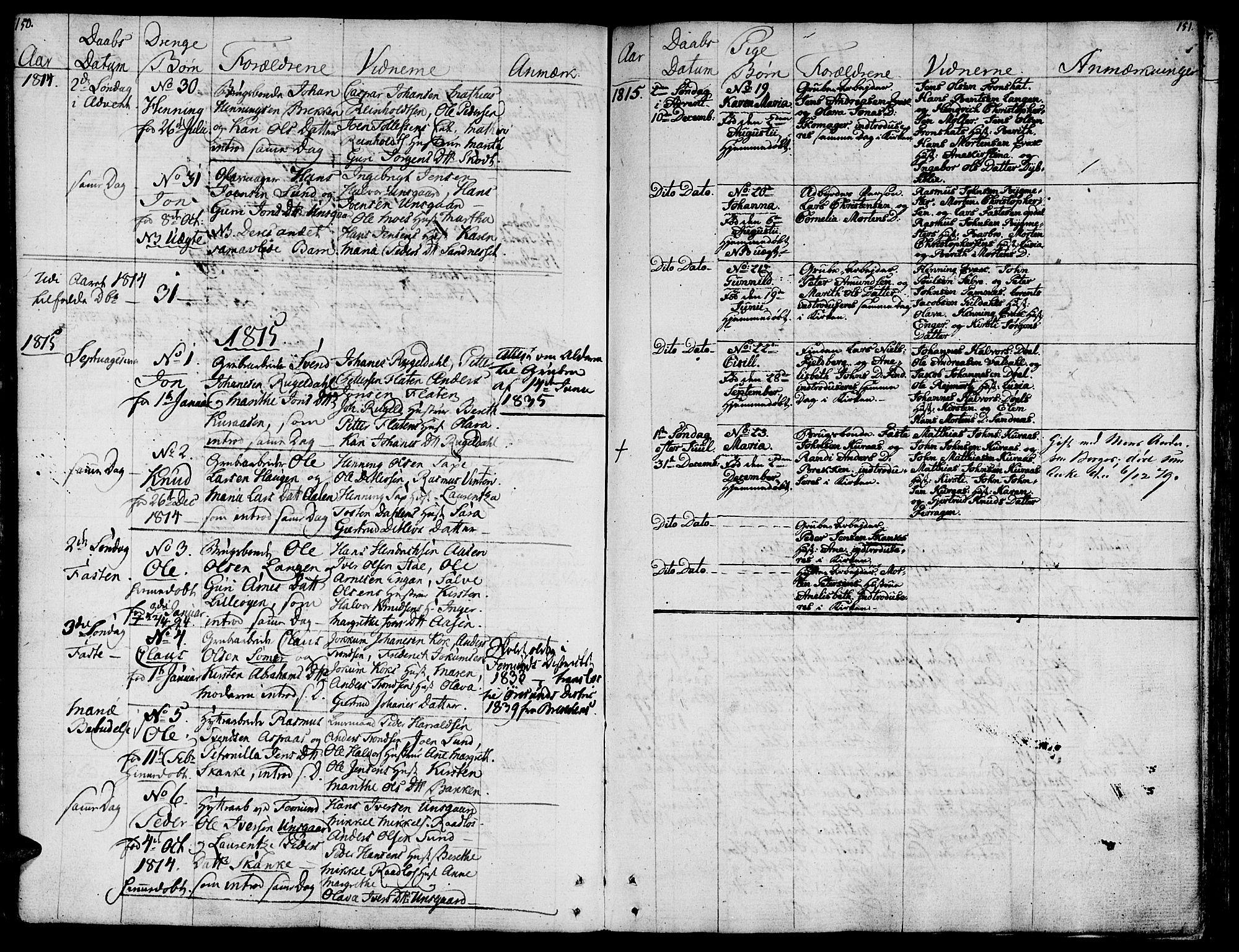 SAT, Ministerialprotokoller, klokkerbøker og fødselsregistre - Sør-Trøndelag, 681/L0928: Ministerialbok nr. 681A06, 1806-1816, s. 150-151