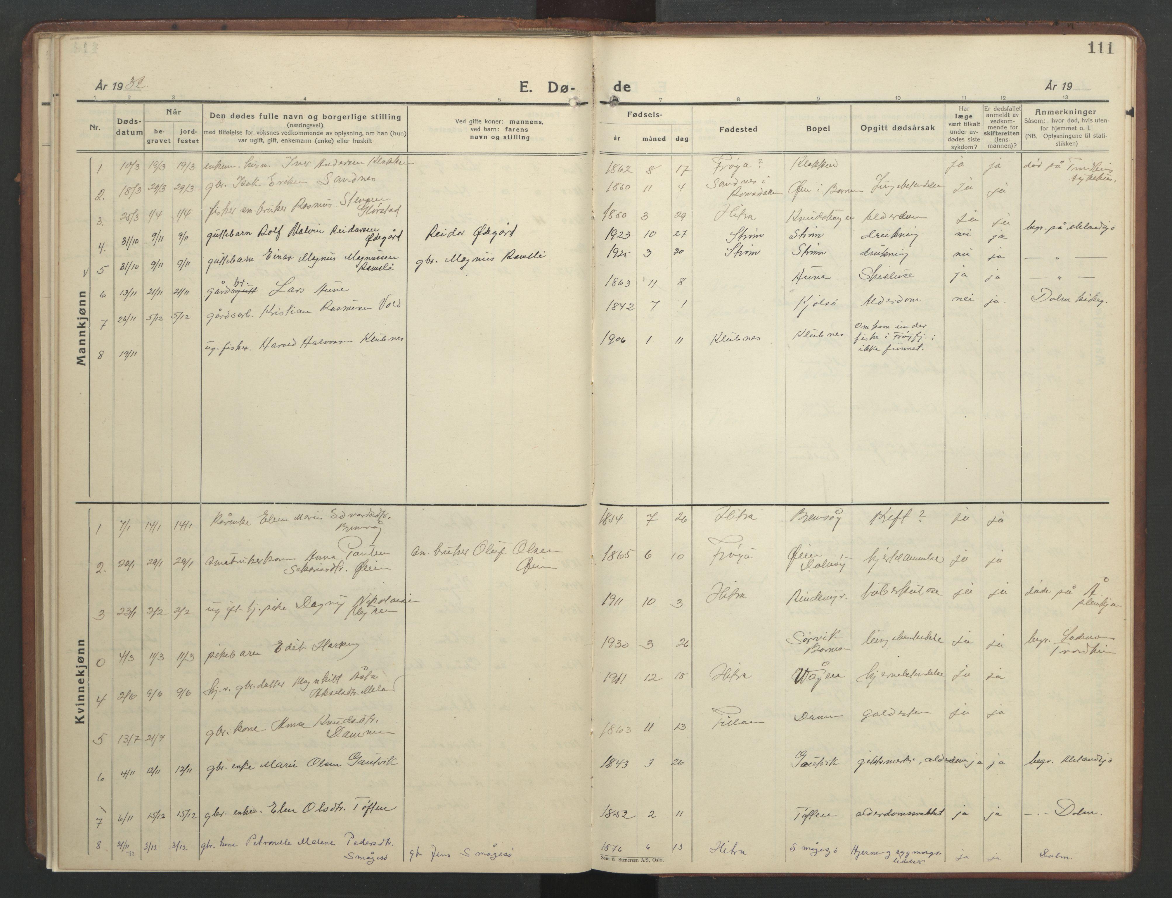 SAT, Ministerialprotokoller, klokkerbøker og fødselsregistre - Sør-Trøndelag, 634/L0544: Klokkerbok nr. 634C06, 1927-1948, s. 111