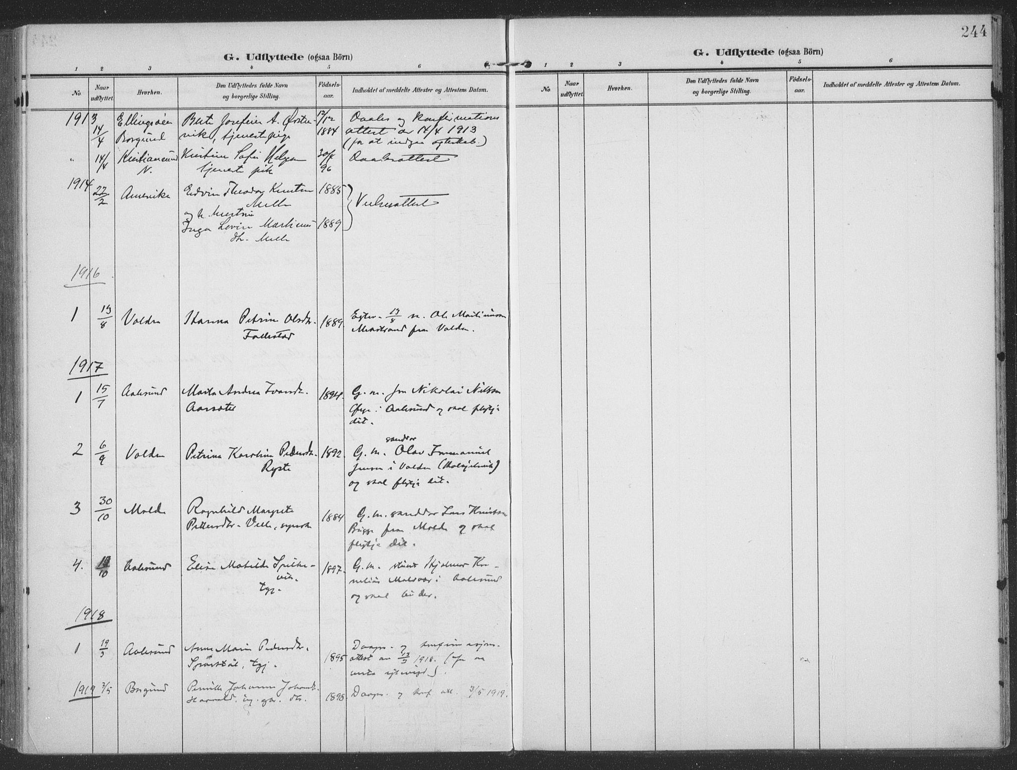 SAT, Ministerialprotokoller, klokkerbøker og fødselsregistre - Møre og Romsdal, 513/L0178: Ministerialbok nr. 513A05, 1906-1919, s. 244