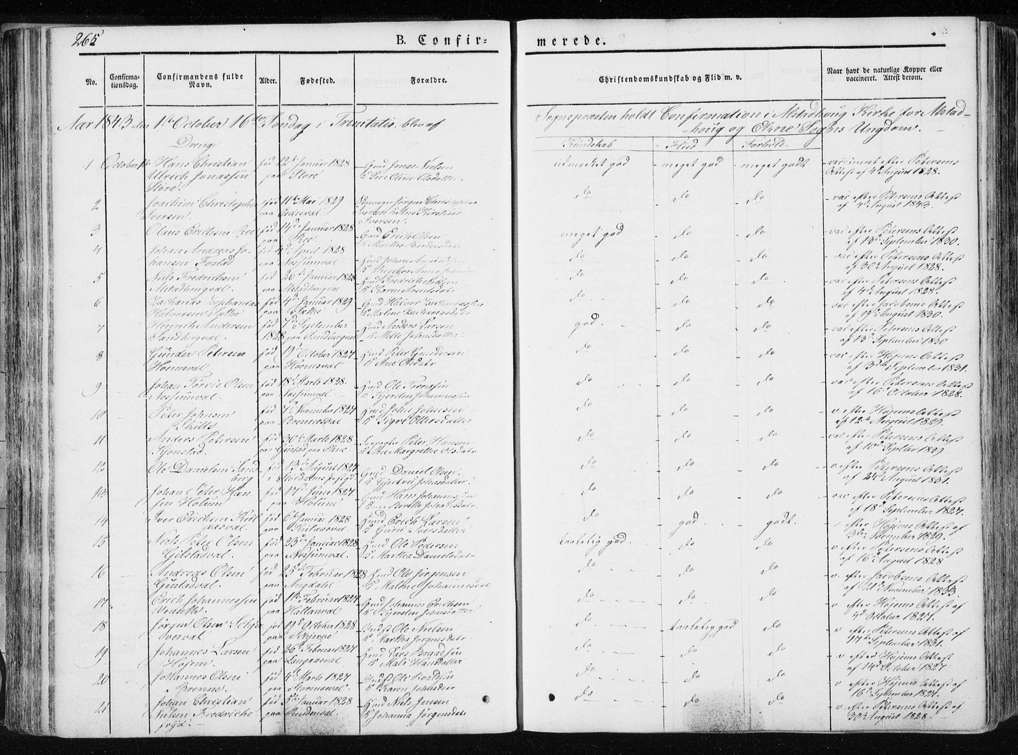 SAT, Ministerialprotokoller, klokkerbøker og fødselsregistre - Nord-Trøndelag, 717/L0154: Ministerialbok nr. 717A06 /1, 1836-1849, s. 265