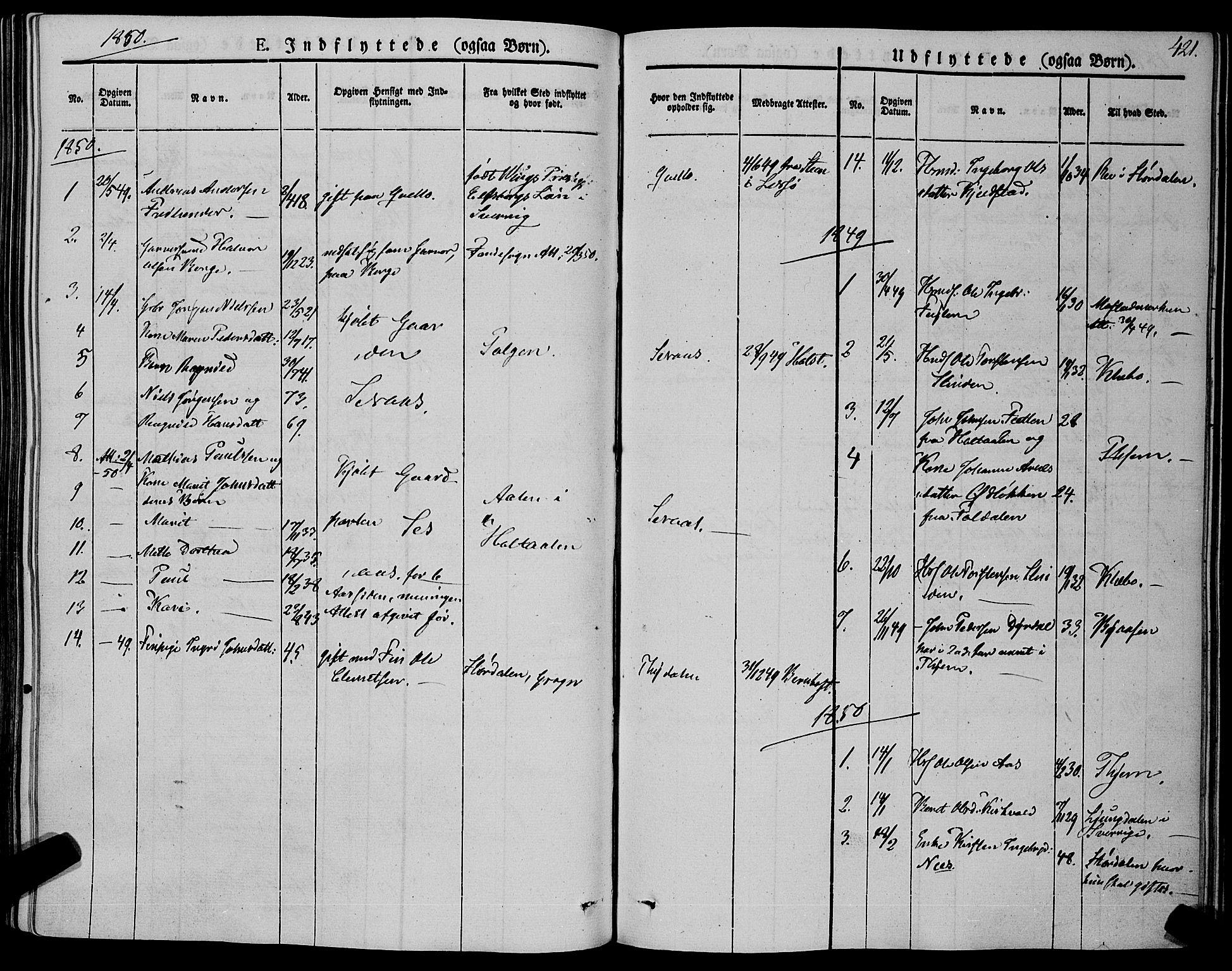 SAT, Ministerialprotokoller, klokkerbøker og fødselsregistre - Sør-Trøndelag, 695/L1145: Ministerialbok nr. 695A06 /1, 1843-1859, s. 421