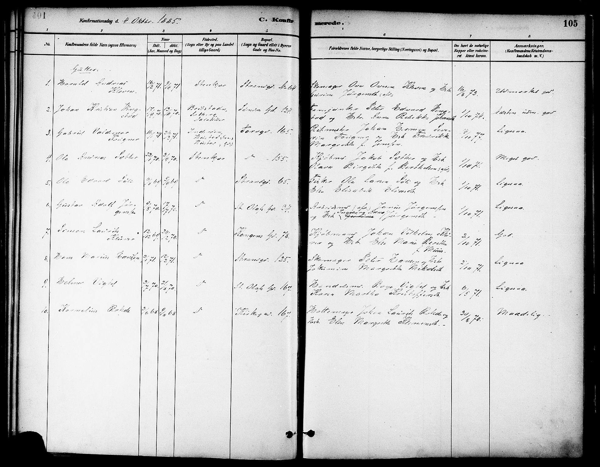 SAT, Ministerialprotokoller, klokkerbøker og fødselsregistre - Nord-Trøndelag, 739/L0371: Ministerialbok nr. 739A03, 1881-1895, s. 105