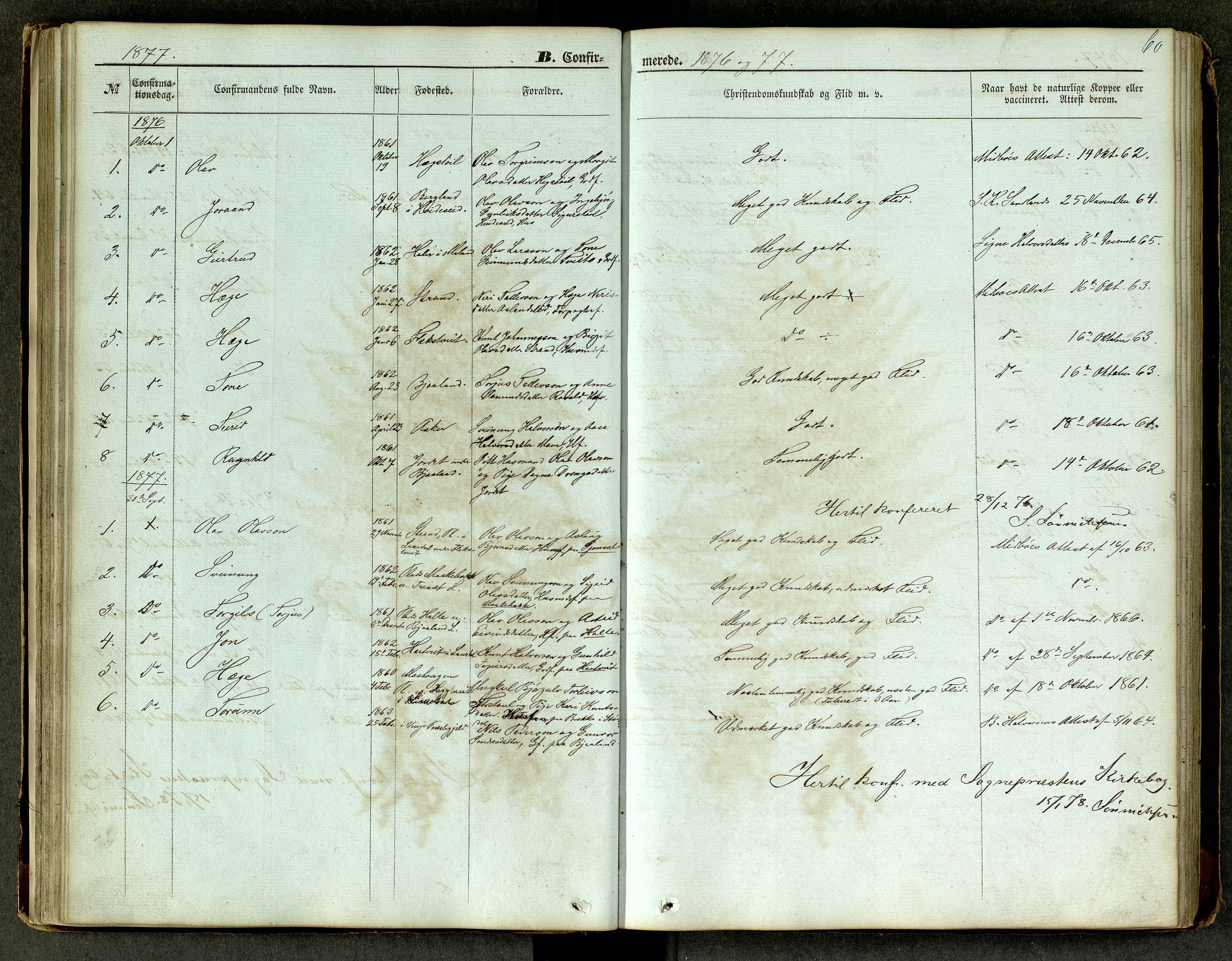 SAKO, Lårdal kirkebøker, G/Ga/L0002: Klokkerbok nr. I 2, 1861-1890, s. 60