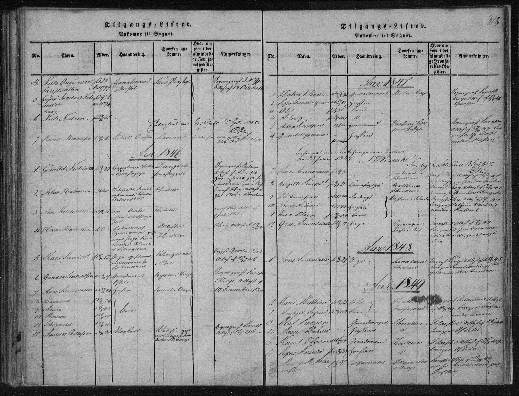 SAKO, Lårdal kirkebøker, F/Fc/L0001: Ministerialbok nr. III 1, 1815-1860, s. 318