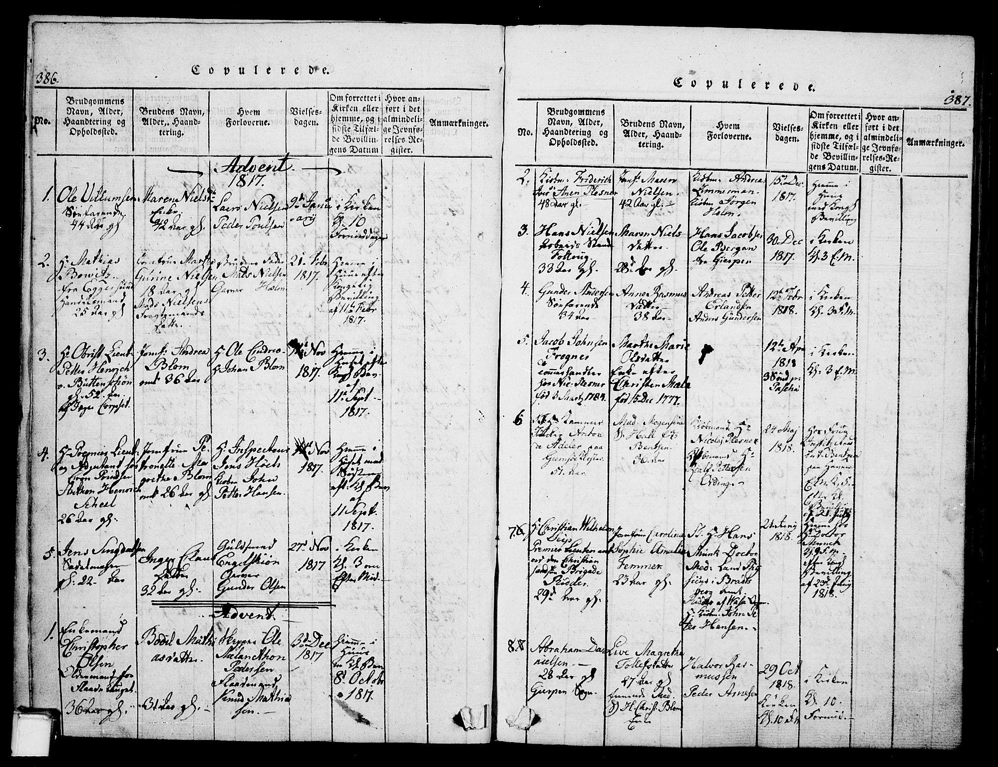SAKO, Skien kirkebøker, G/Ga/L0002: Klokkerbok nr. 2, 1814-1842, s. 386-387