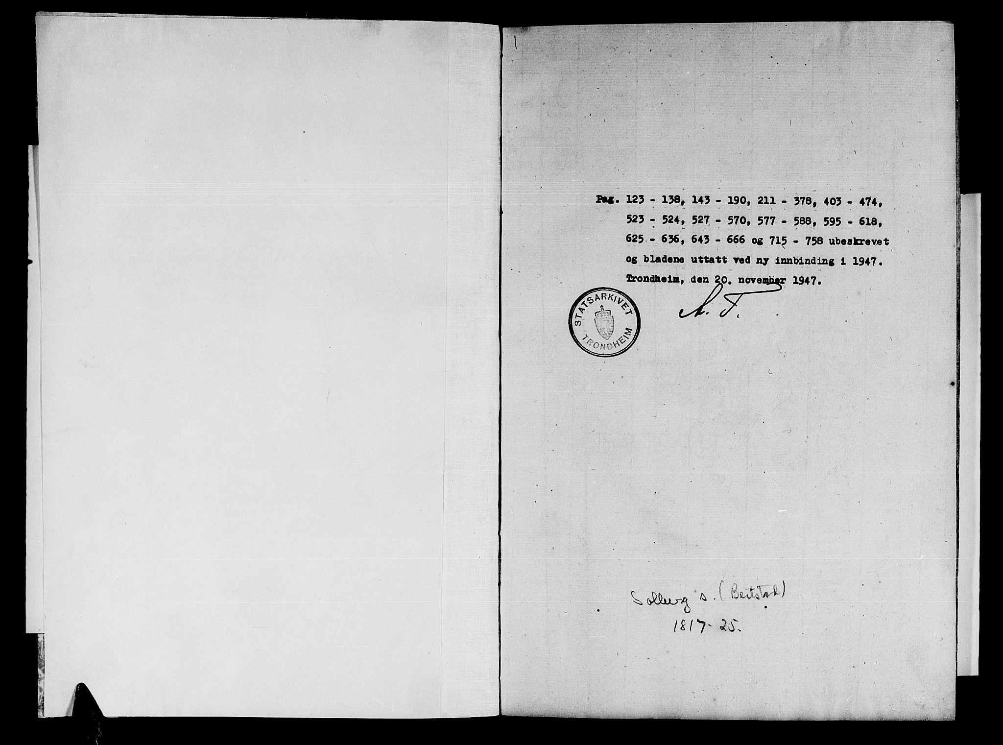 SAT, Ministerialprotokoller, klokkerbøker og fødselsregistre - Nord-Trøndelag, 741/L0400: Klokkerbok nr. 741C01, 1817-1825