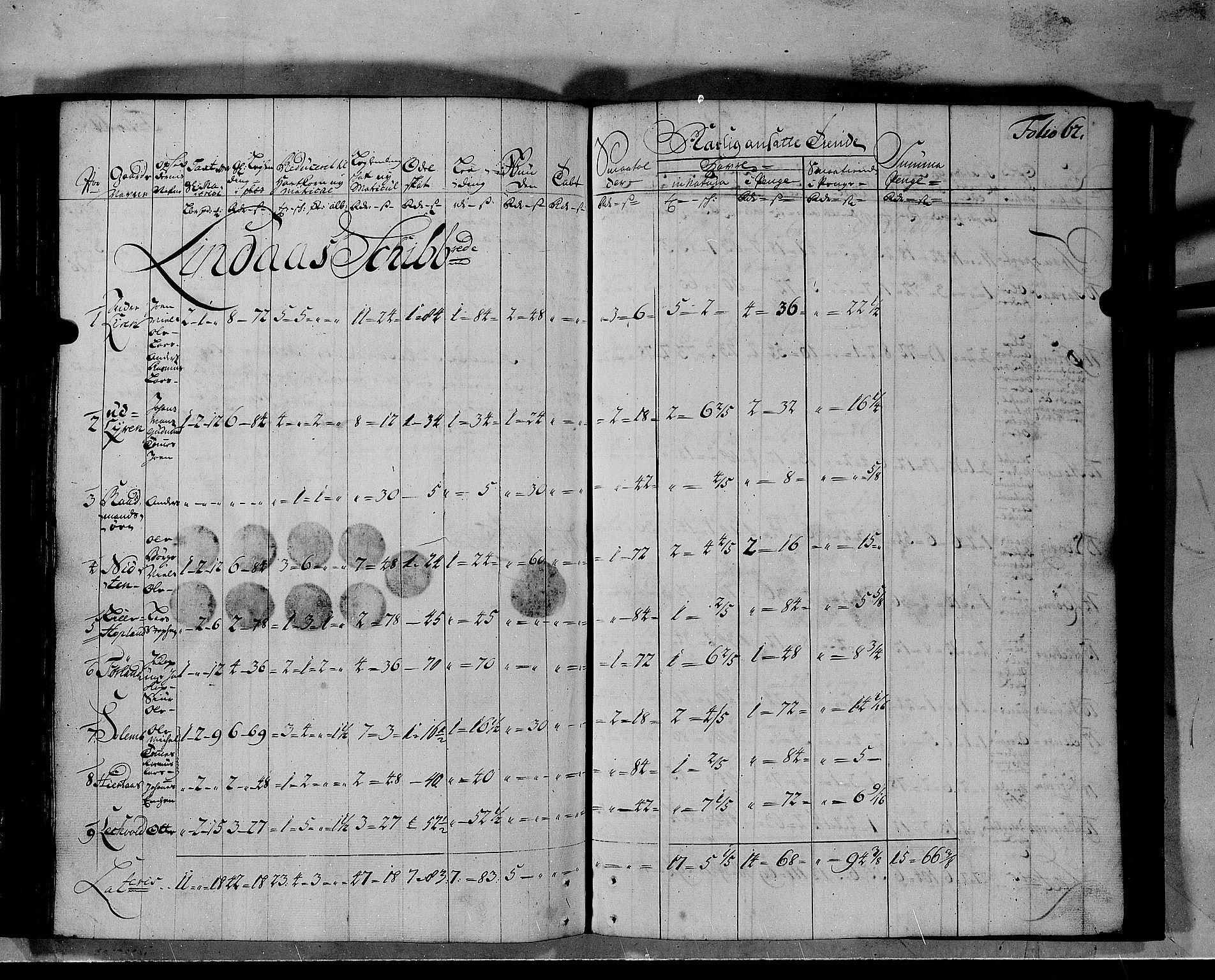 RA, Rentekammeret inntil 1814, Realistisk ordnet avdeling, N/Nb/Nbf/L0140: Nordhordland matrikkelprotokoll, 1723, s. 61b-62a
