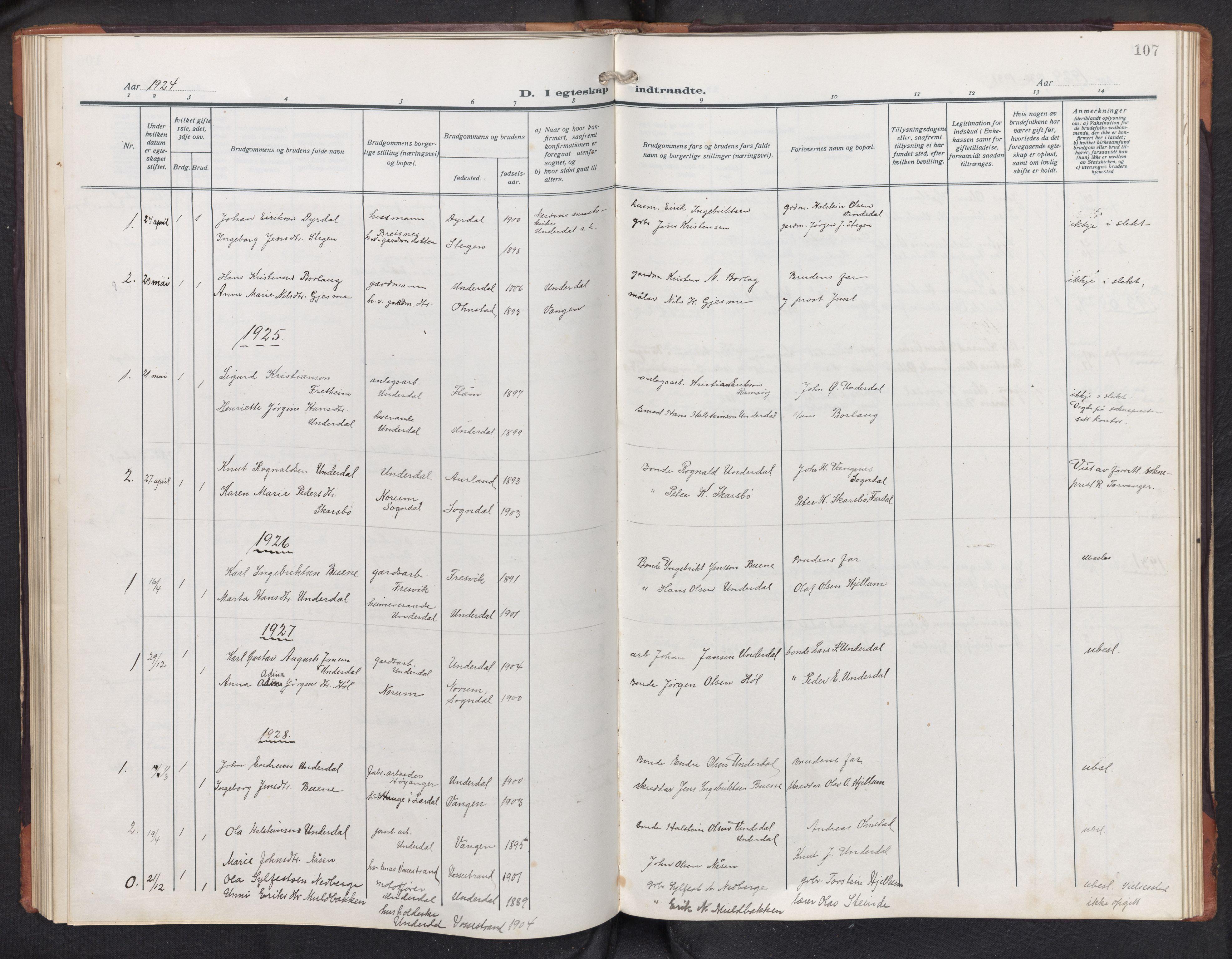 SAB, Aurland sokneprestembete, H/Hb/Hbd/L0003: Klokkerbok nr. D 3, 1920-1968, s. 106b-107a