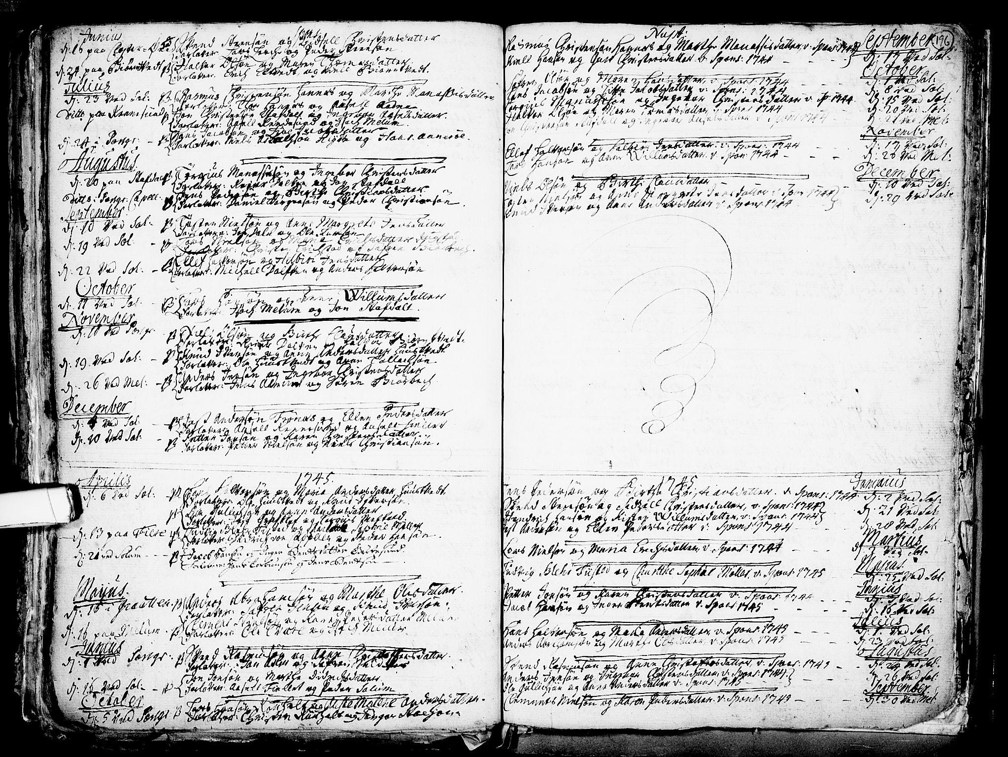 SAKO, Solum kirkebøker, F/Fa/L0002: Ministerialbok nr. I 2, 1713-1761, s. 196