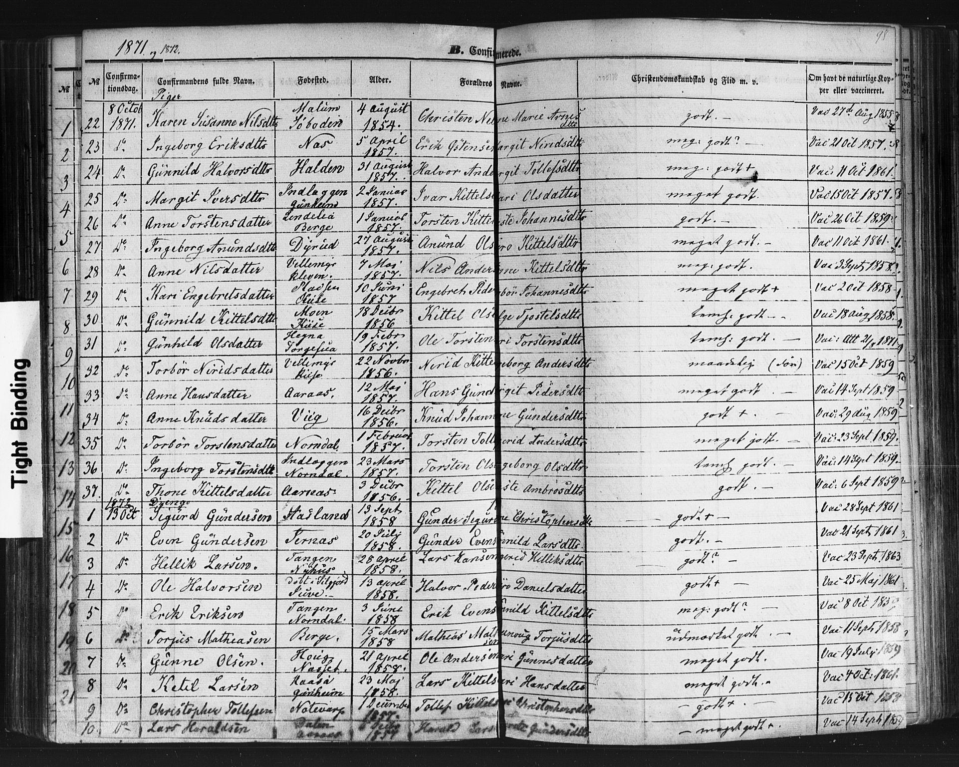 SAKO, Sauherad kirkebøker, F/Fb/L0001: Ministerialbok nr. II 1, 1851-1877, s. 98