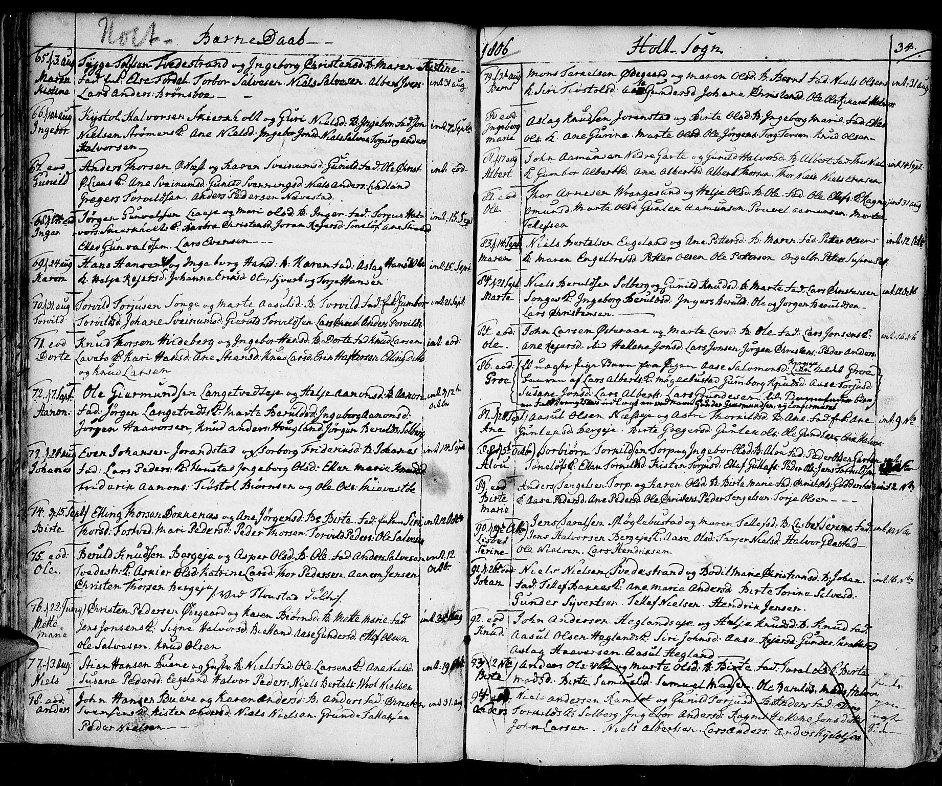 SAK, Holt sokneprestkontor, F/Fa/L0004: Ministerialbok nr. A 4, 1799-1813, s. 34