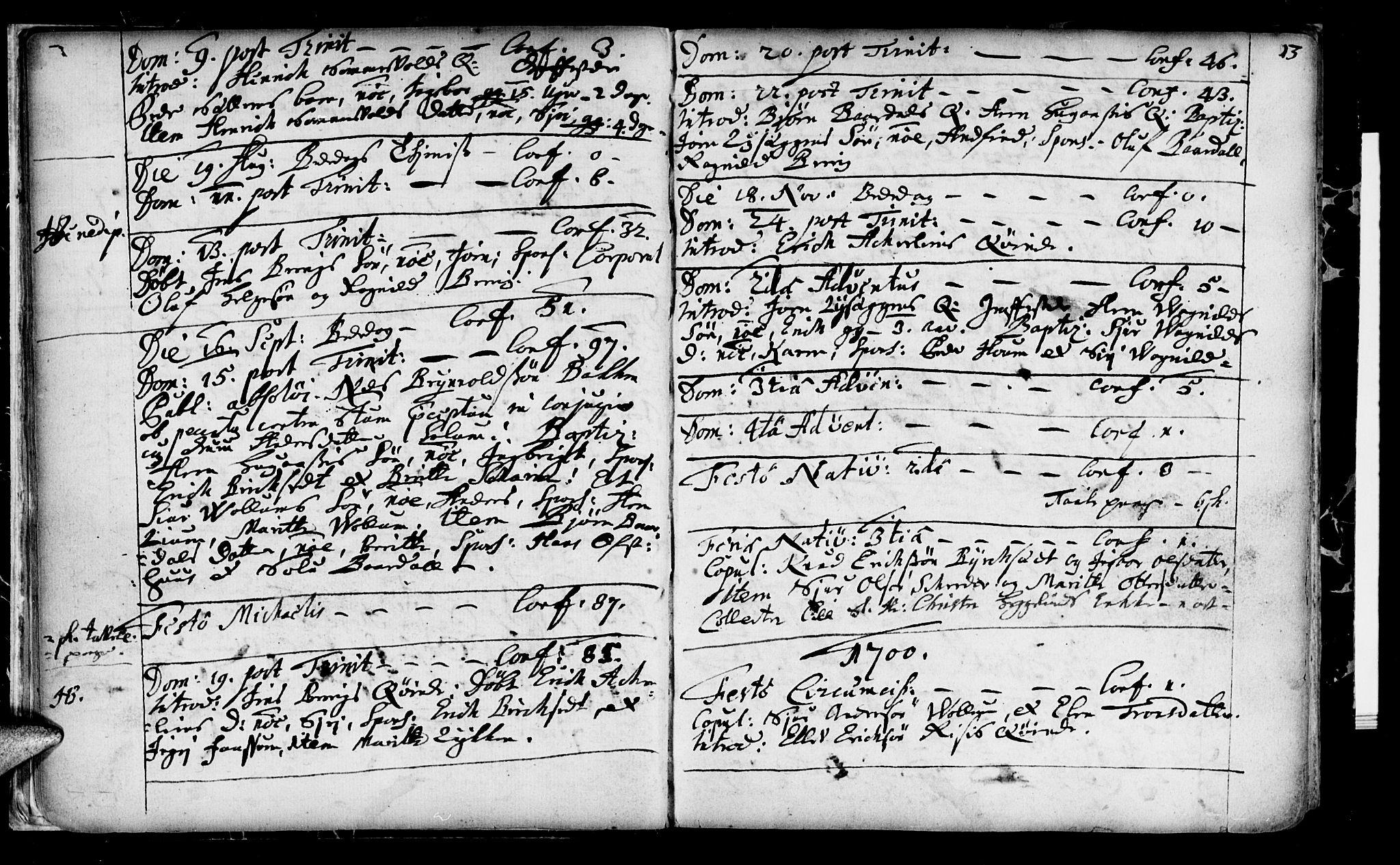 SAT, Ministerialprotokoller, klokkerbøker og fødselsregistre - Sør-Trøndelag, 689/L1036: Ministerialbok nr. 689A01, 1696-1746, s. 13
