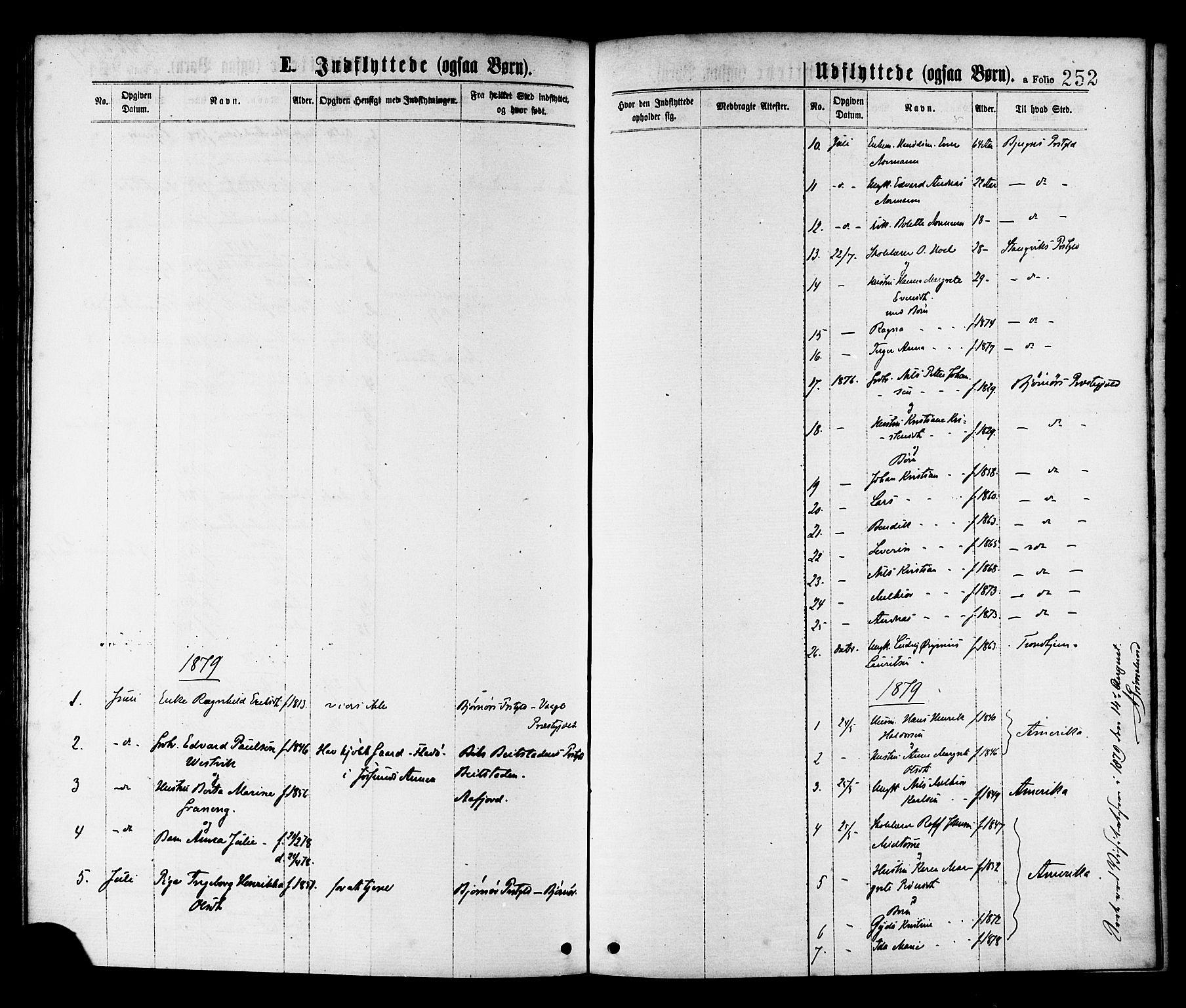SAT, Ministerialprotokoller, klokkerbøker og fødselsregistre - Sør-Trøndelag, 655/L0679: Ministerialbok nr. 655A08, 1873-1879, s. 252