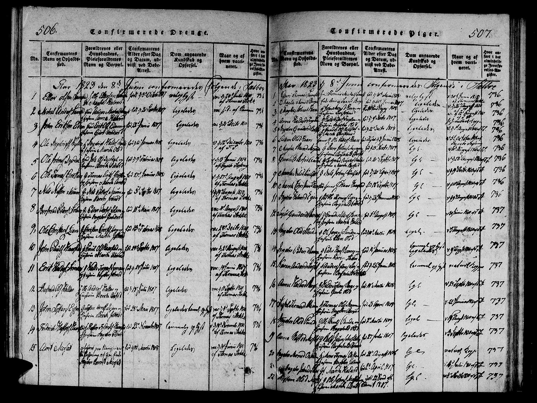 SAT, Ministerialprotokoller, klokkerbøker og fødselsregistre - Sør-Trøndelag, 695/L1141: Ministerialbok nr. 695A04 /1, 1816-1824, s. 506-507