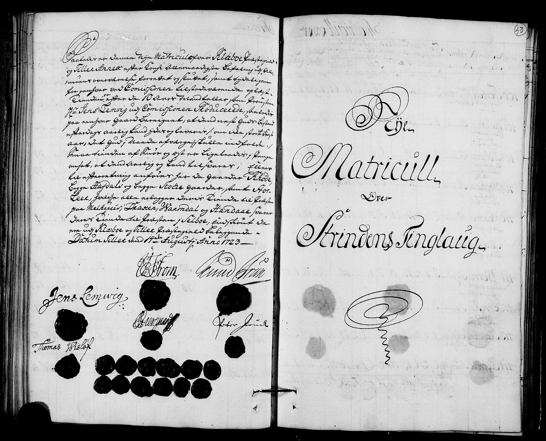 RA, Rentekammeret inntil 1814, Realistisk ordnet avdeling, N/Nb/Nbf/L0161: Strinda og Selbu matrikkelprotokoll, 1723, s. 49b-50a