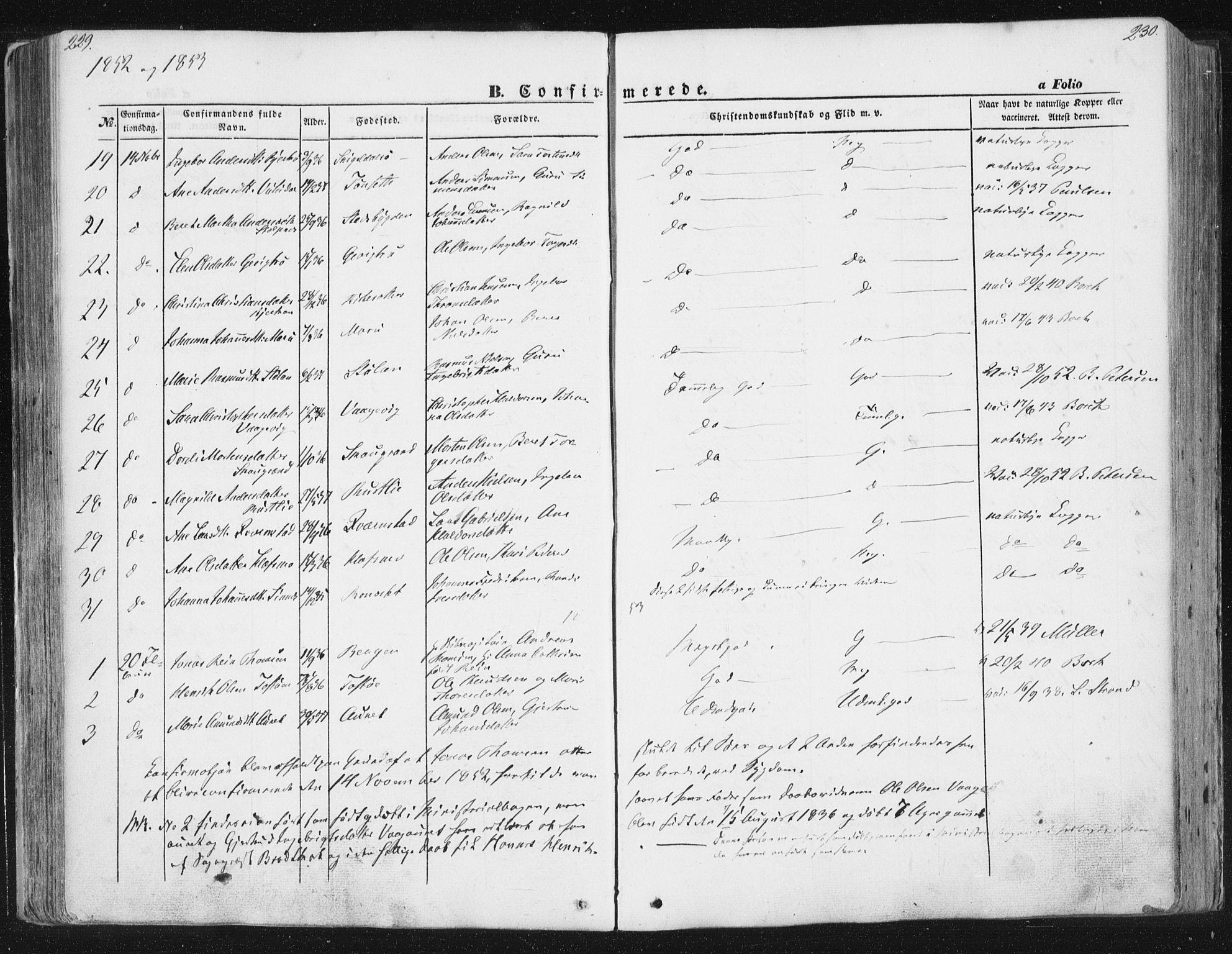SAT, Ministerialprotokoller, klokkerbøker og fødselsregistre - Sør-Trøndelag, 630/L0494: Ministerialbok nr. 630A07, 1852-1868, s. 229-230