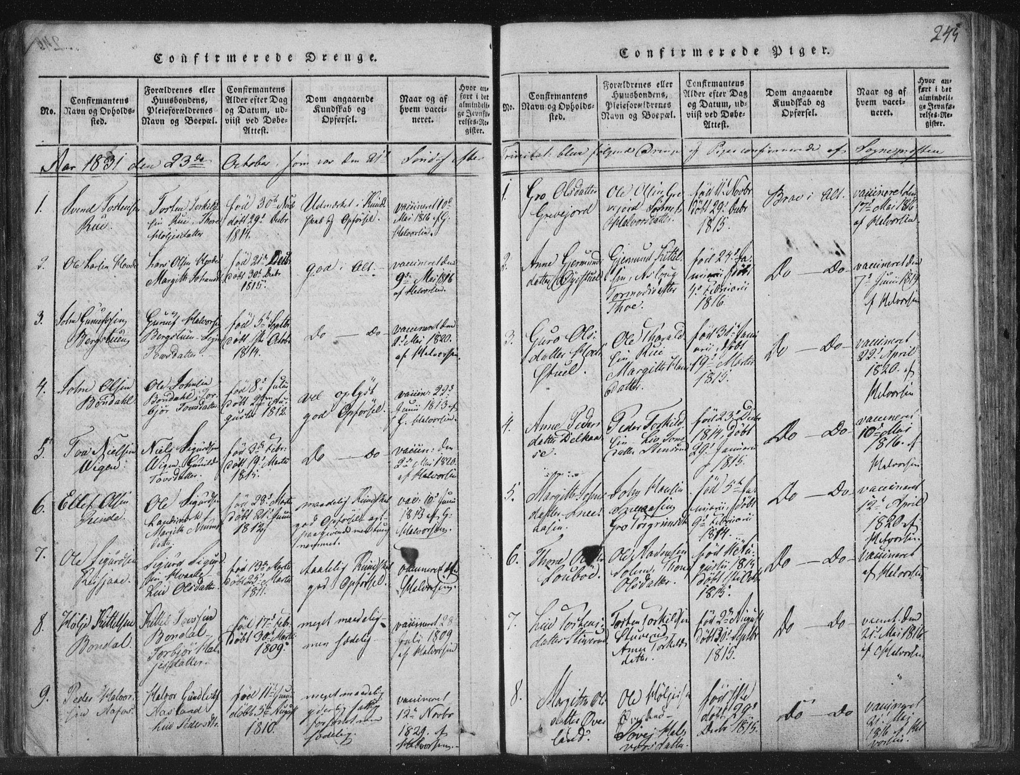 SAKO, Hjartdal kirkebøker, F/Fc/L0001: Ministerialbok nr. III 1, 1815-1843, s. 245