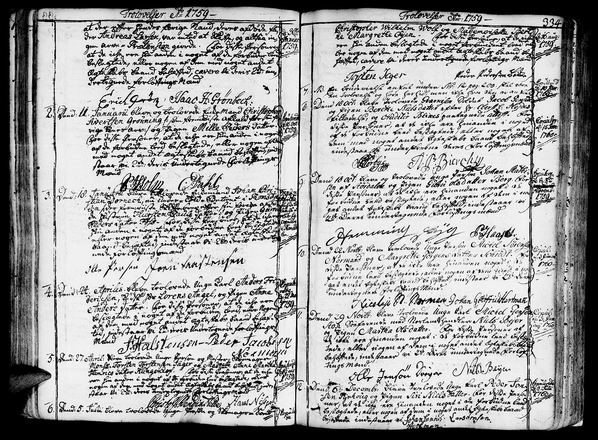SAT, Ministerialprotokoller, klokkerbøker og fødselsregistre - Sør-Trøndelag, 602/L0103: Ministerialbok nr. 602A01, 1732-1774, s. 334