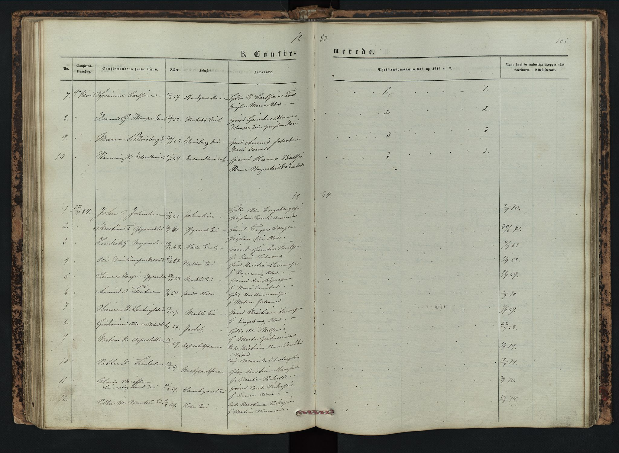 SAH, Vestre Gausdal prestekontor, Klokkerbok nr. 2, 1874-1897, s. 105