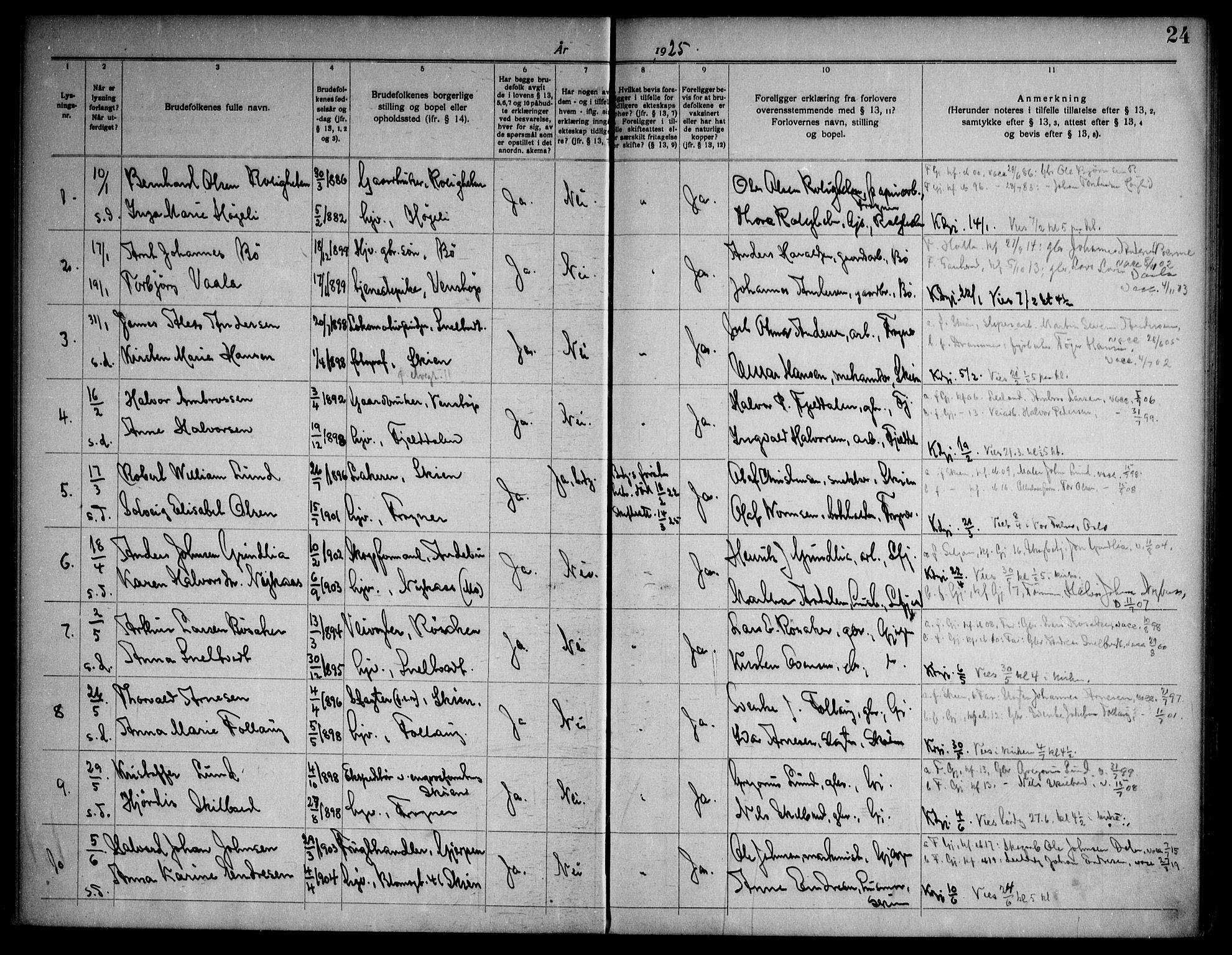 SAKO, Gjerpen kirkebøker, H/Ha/L0003: Lysningsprotokoll nr. I 3, 1919-1946, s. 24