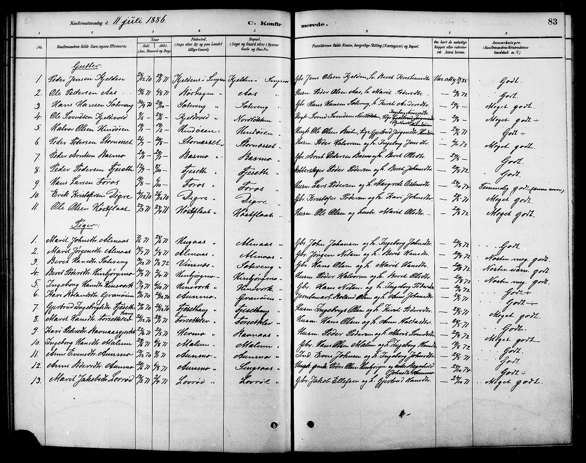 SAT, Ministerialprotokoller, klokkerbøker og fødselsregistre - Sør-Trøndelag, 688/L1024: Ministerialbok nr. 688A01, 1879-1890, s. 83