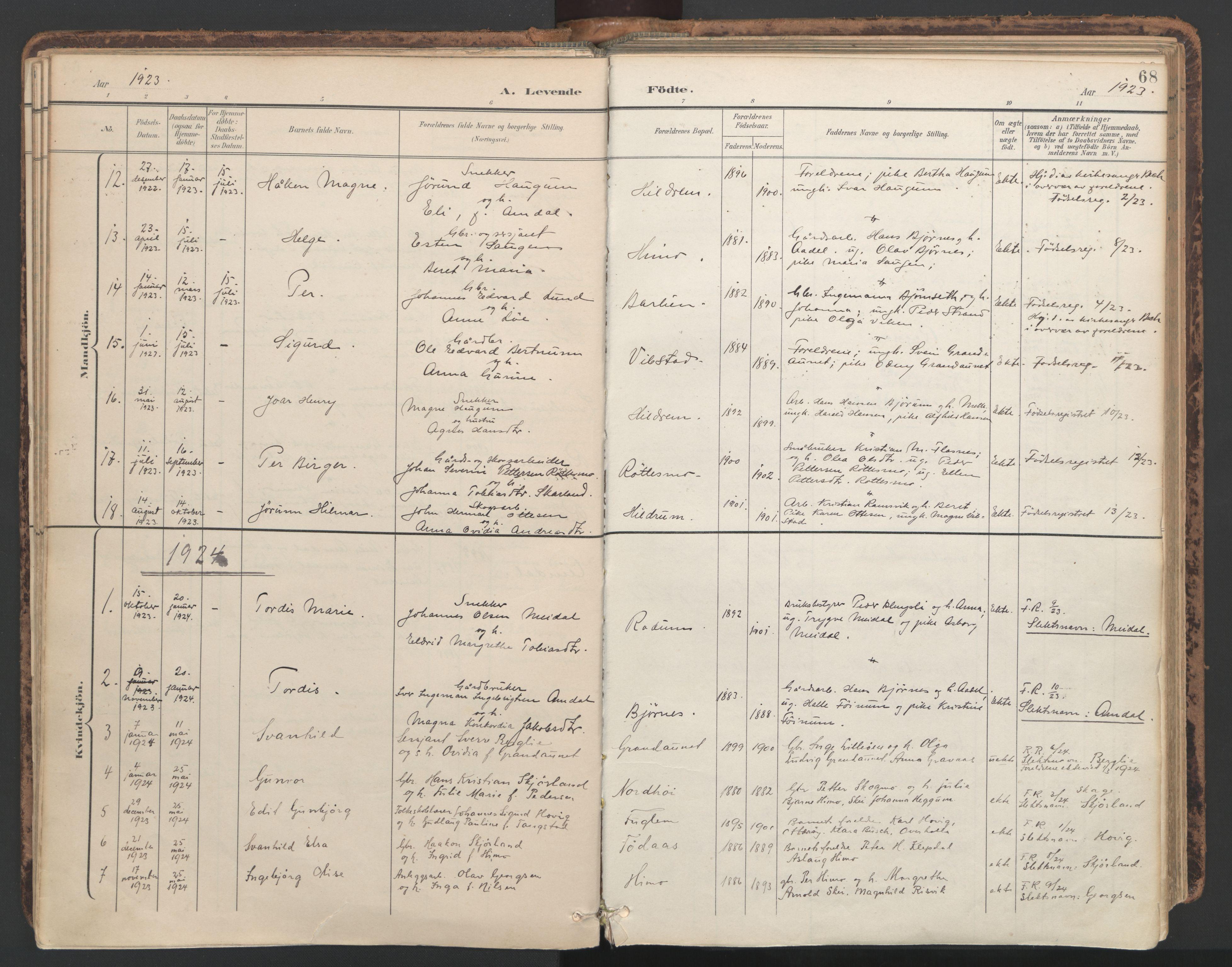 SAT, Ministerialprotokoller, klokkerbøker og fødselsregistre - Nord-Trøndelag, 764/L0556: Ministerialbok nr. 764A11, 1897-1924, s. 68