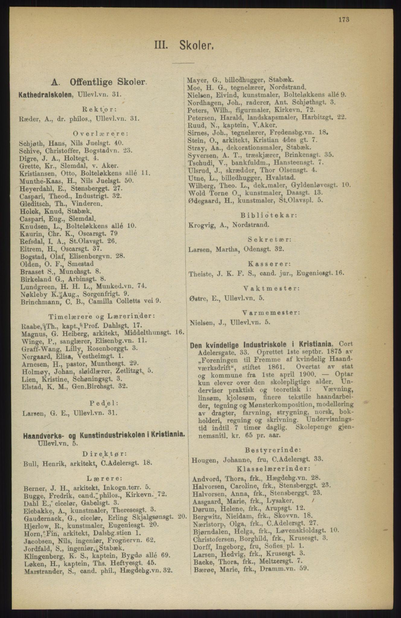 RA, Kristiania adressebok (publikasjon)*, 1914, s. 173
