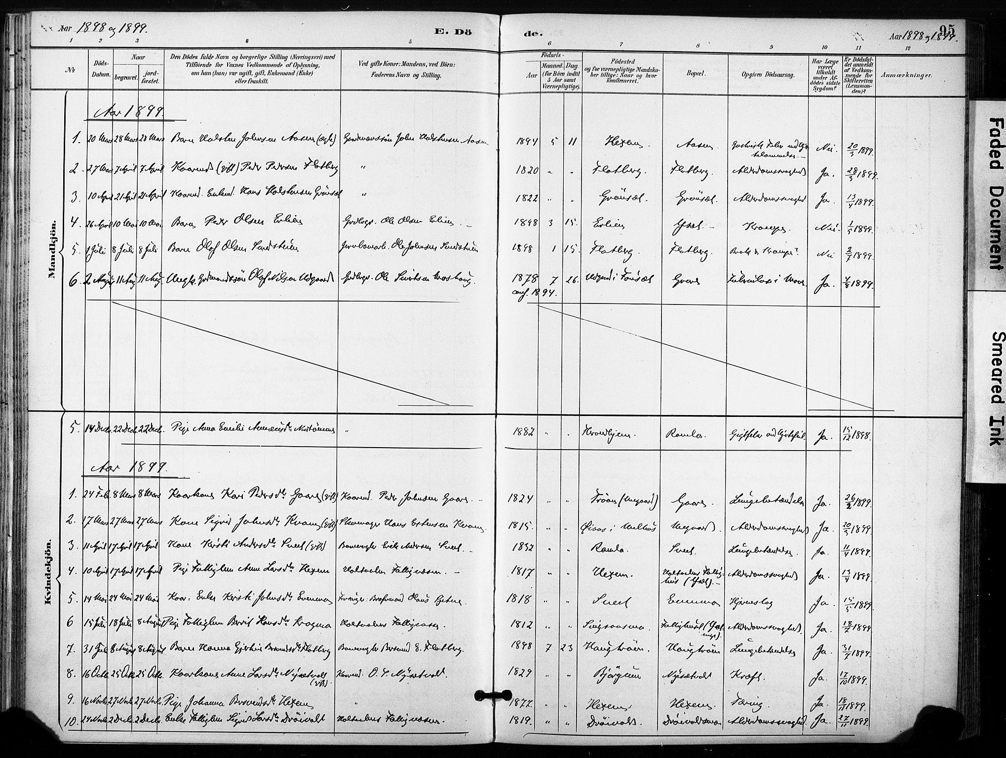SAT, Ministerialprotokoller, klokkerbøker og fødselsregistre - Sør-Trøndelag, 685/L0973: Ministerialbok nr. 685A10, 1891-1907, s. 95