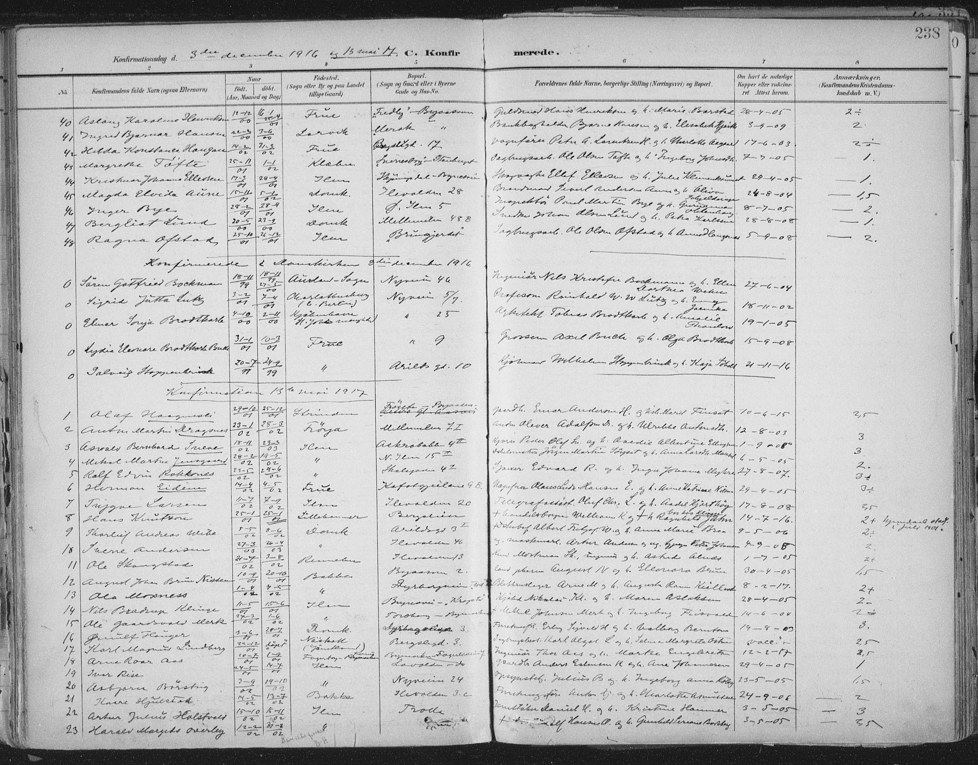 SAT, Ministerialprotokoller, klokkerbøker og fødselsregistre - Sør-Trøndelag, 603/L0167: Ministerialbok nr. 603A06, 1896-1932, s. 238