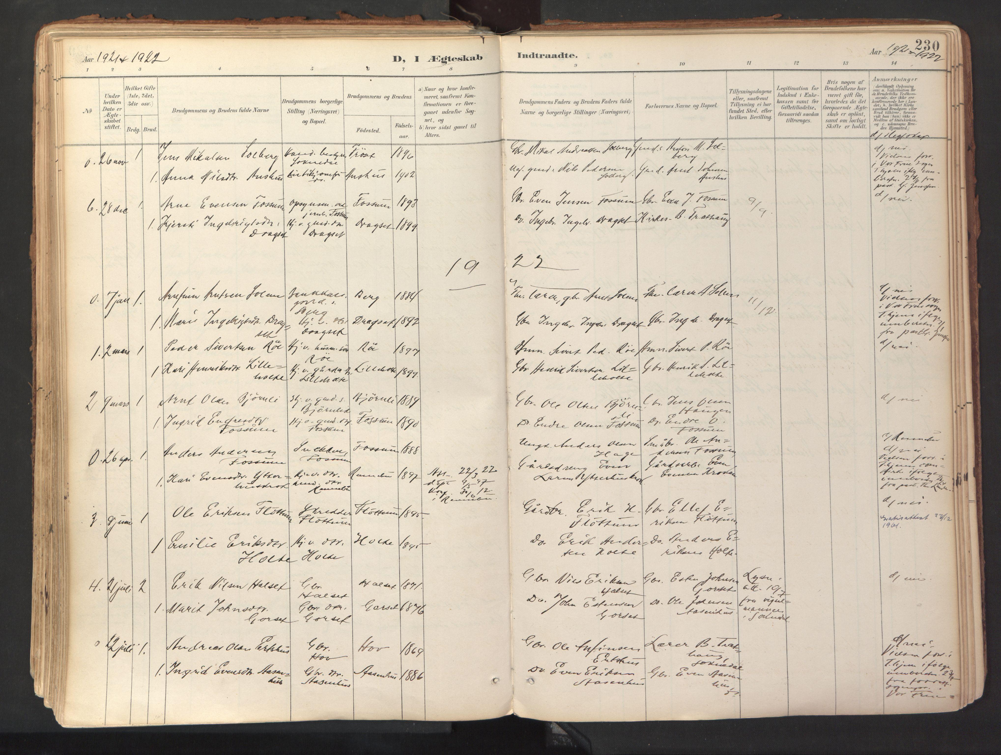 SAT, Ministerialprotokoller, klokkerbøker og fødselsregistre - Sør-Trøndelag, 689/L1041: Ministerialbok nr. 689A06, 1891-1923, s. 230