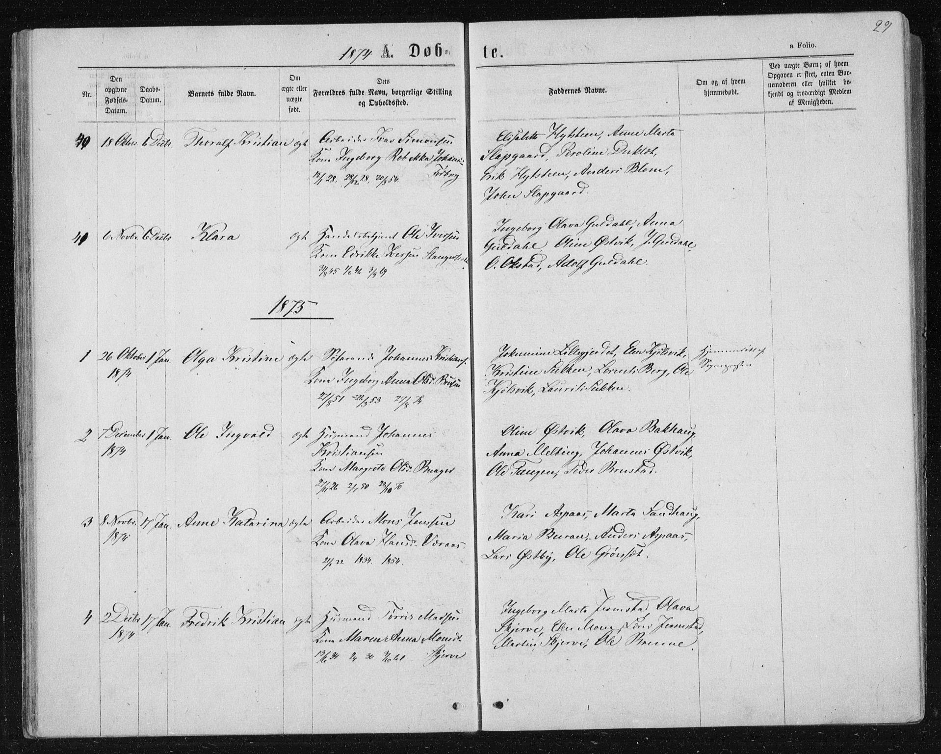 SAT, Ministerialprotokoller, klokkerbøker og fødselsregistre - Nord-Trøndelag, 722/L0219: Ministerialbok nr. 722A06, 1868-1880, s. 29