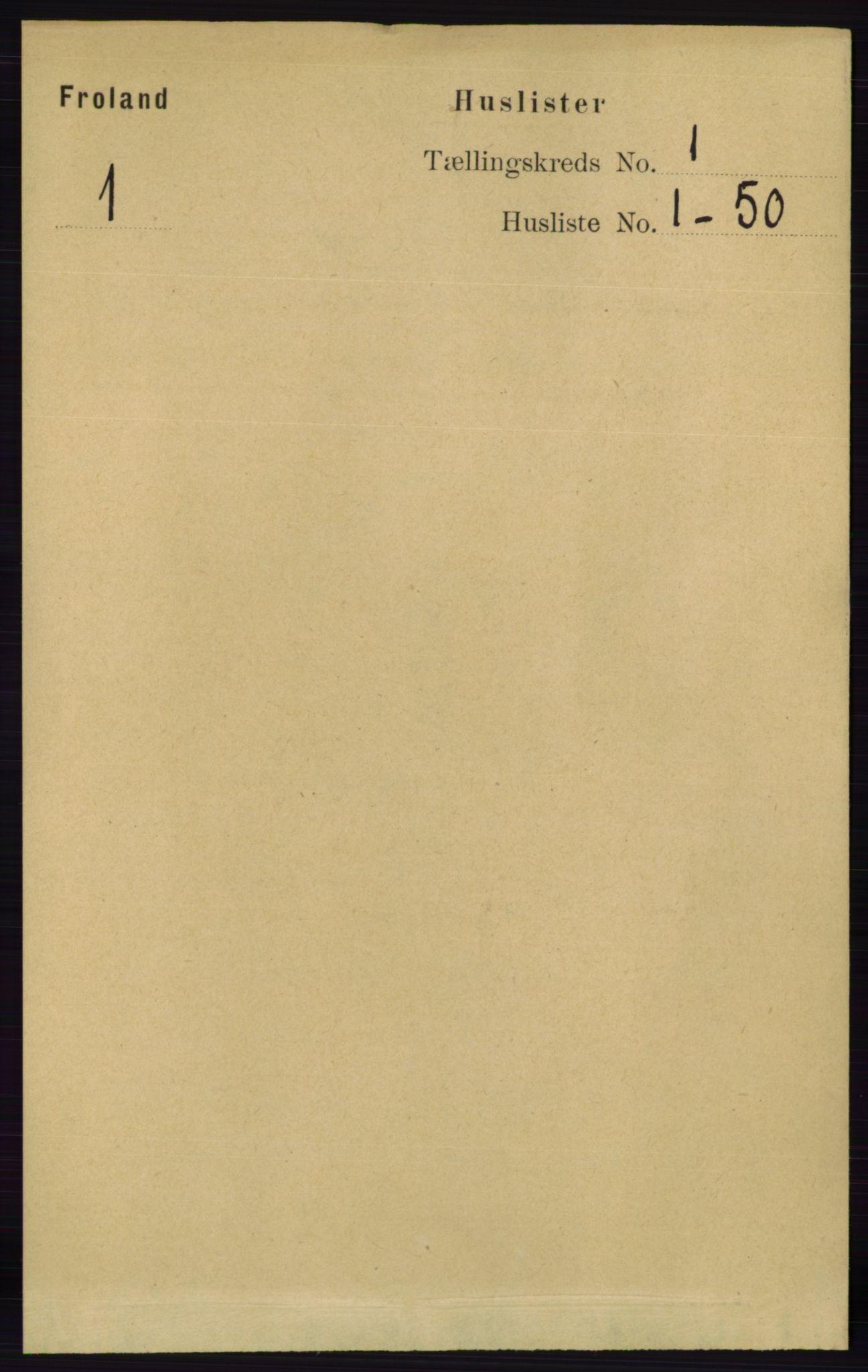 RA, Folketelling 1891 for 0919 Froland herred, 1891, s. 19