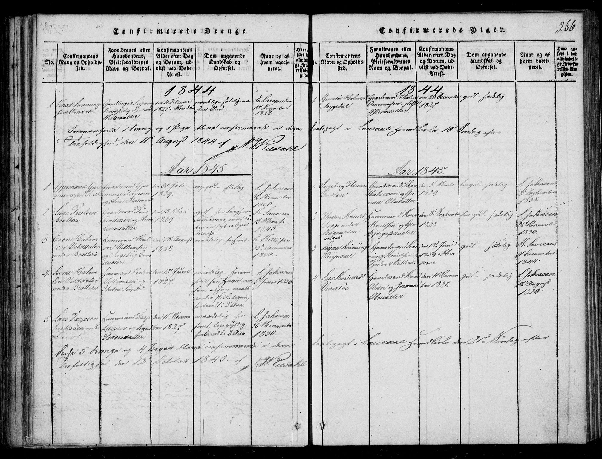 SAKO, Lårdal kirkebøker, F/Fb/L0001: Ministerialbok nr. II 1, 1815-1860, s. 266