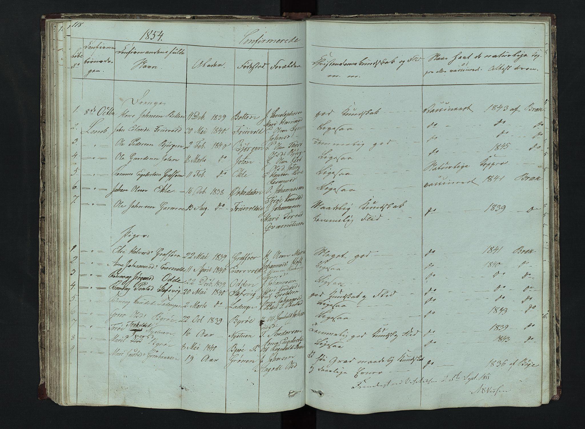 SAH, Lom prestekontor, L/L0014: Klokkerbok nr. 14, 1845-1876, s. 118-119