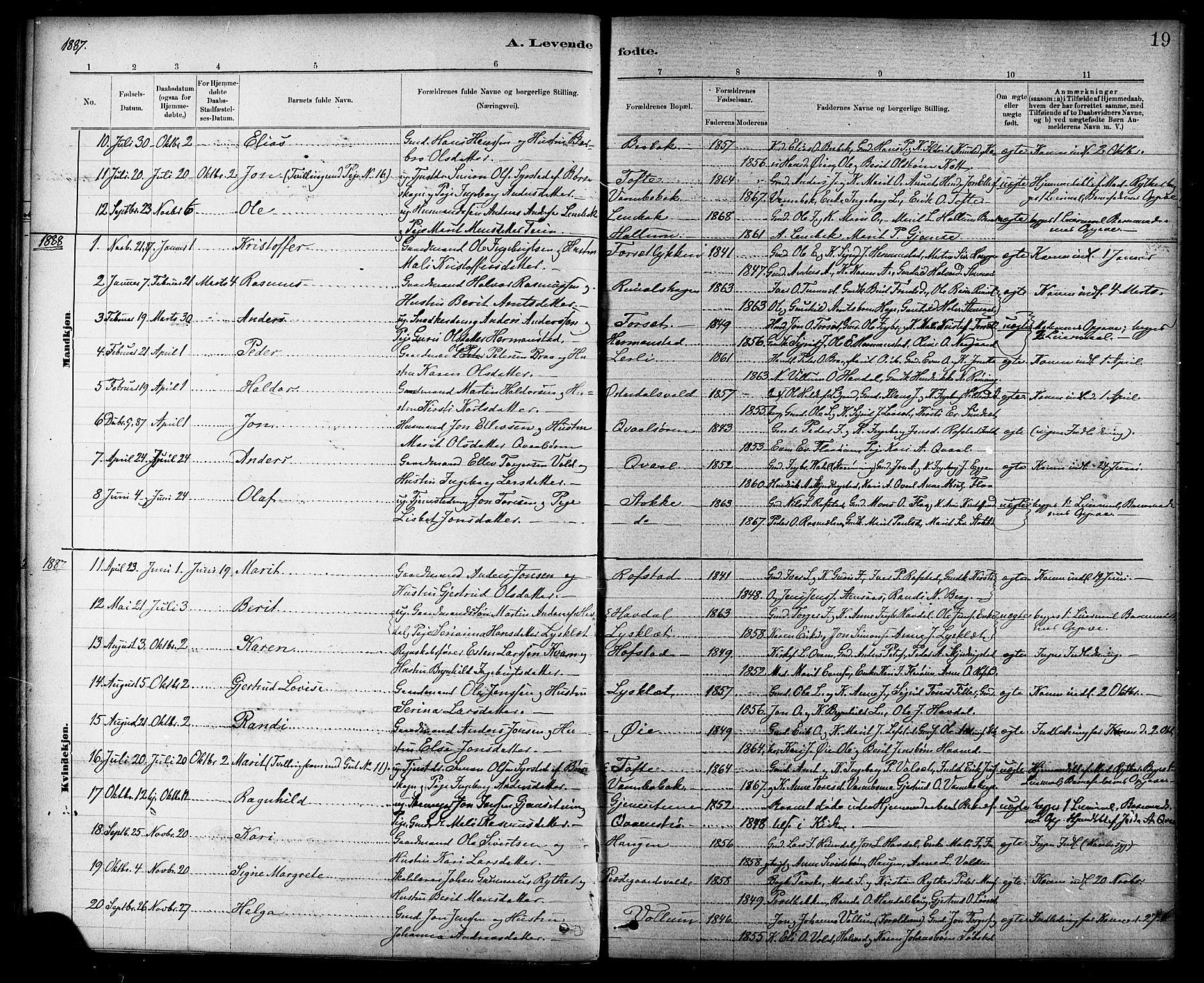SAT, Ministerialprotokoller, klokkerbøker og fødselsregistre - Sør-Trøndelag, 691/L1094: Klokkerbok nr. 691C05, 1879-1911, s. 19