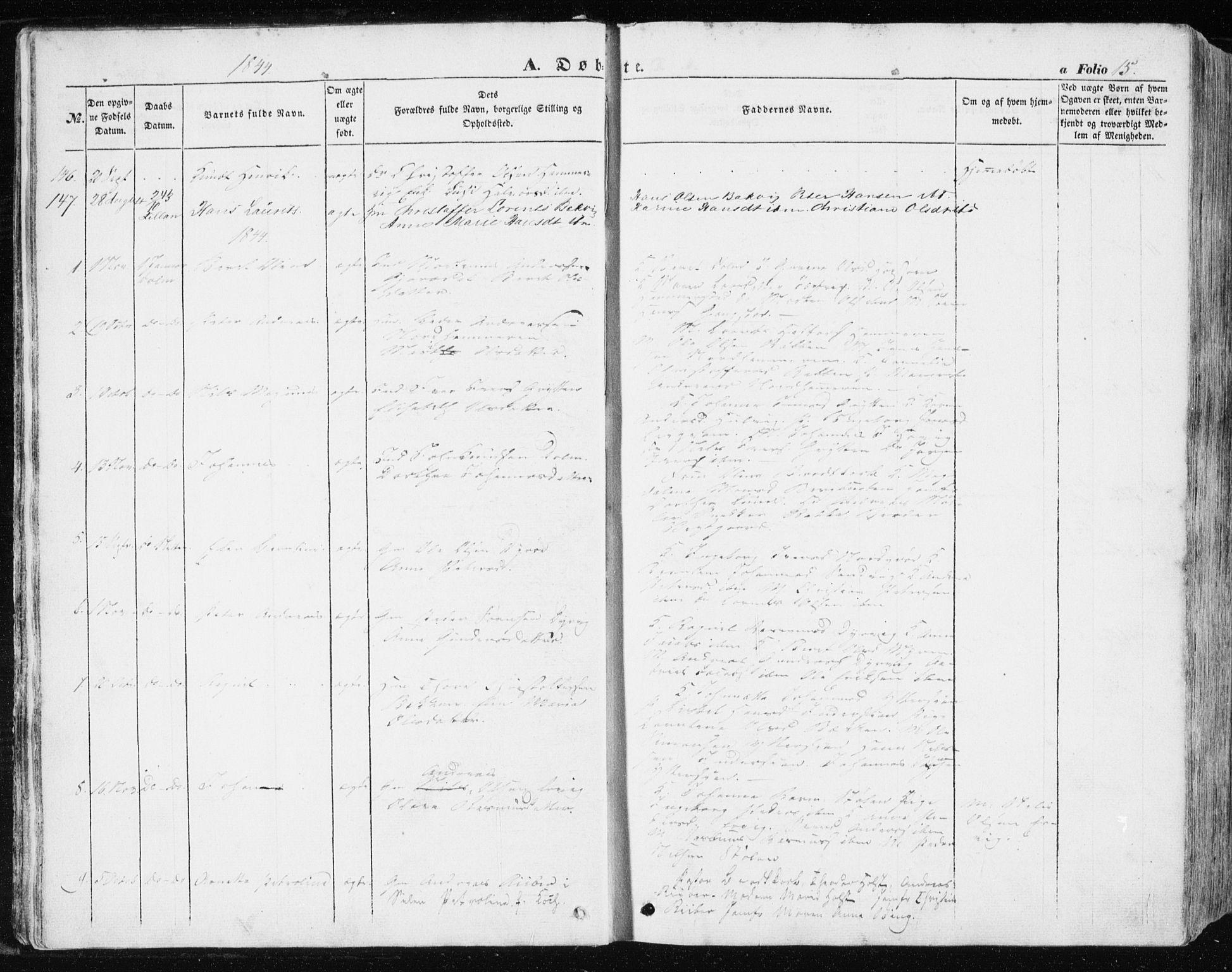SAT, Ministerialprotokoller, klokkerbøker og fødselsregistre - Sør-Trøndelag, 634/L0529: Ministerialbok nr. 634A05, 1843-1851, s. 15