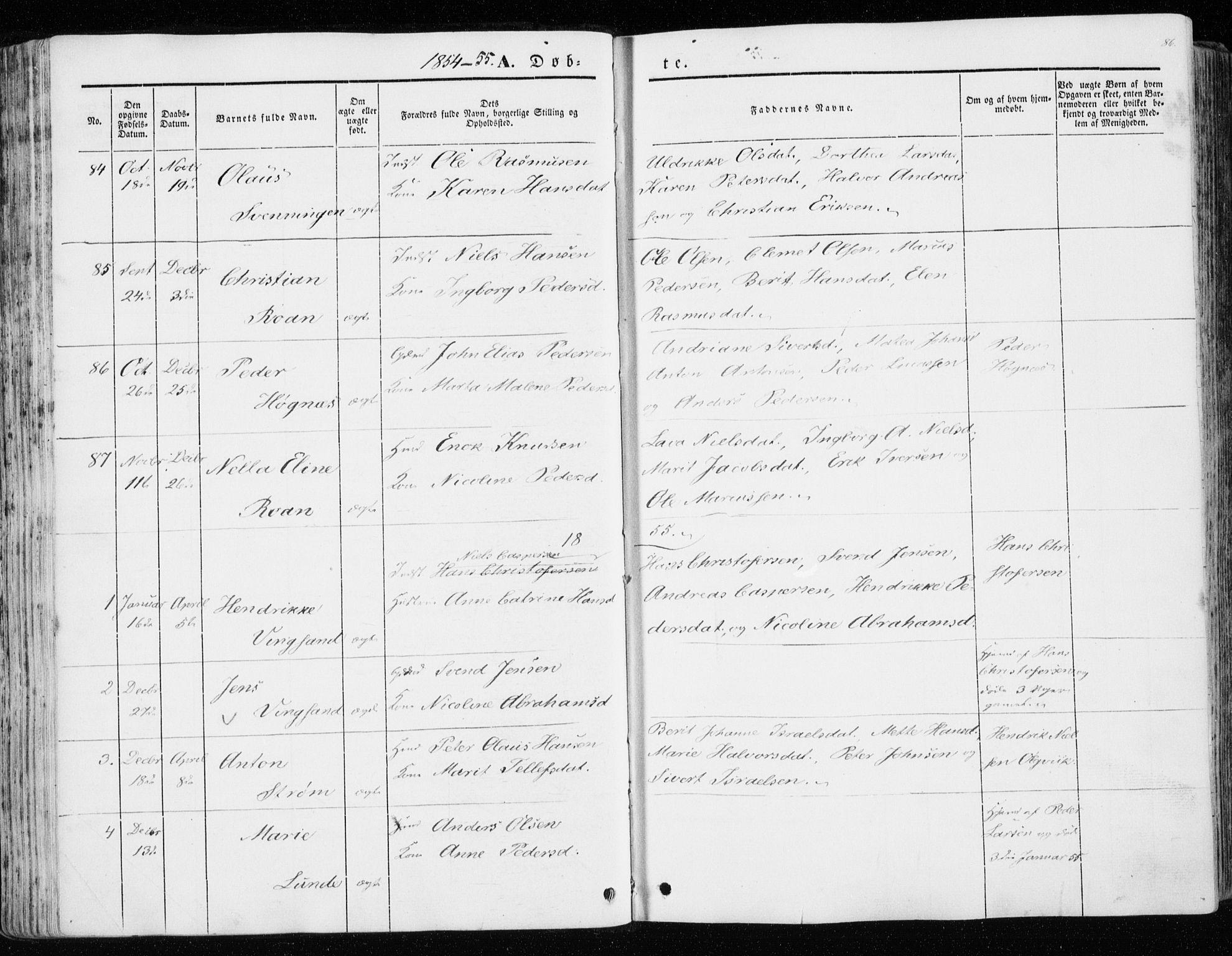 SAT, Ministerialprotokoller, klokkerbøker og fødselsregistre - Sør-Trøndelag, 657/L0704: Ministerialbok nr. 657A05, 1846-1857, s. 86