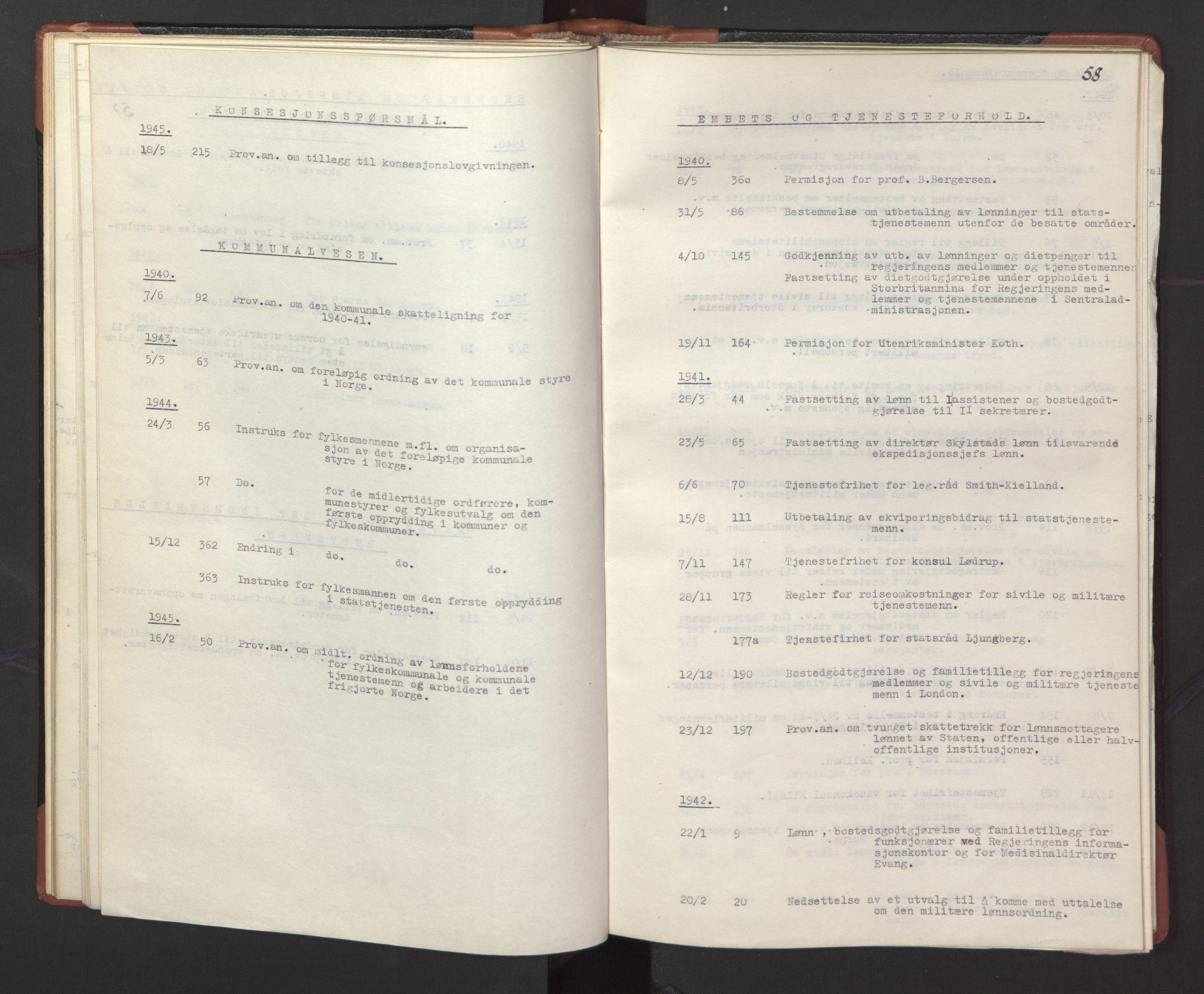 RA, Statsrådssekretariatet, A/Ac/L0127: Register 9/4-25/5, 1940-1945, s. 58
