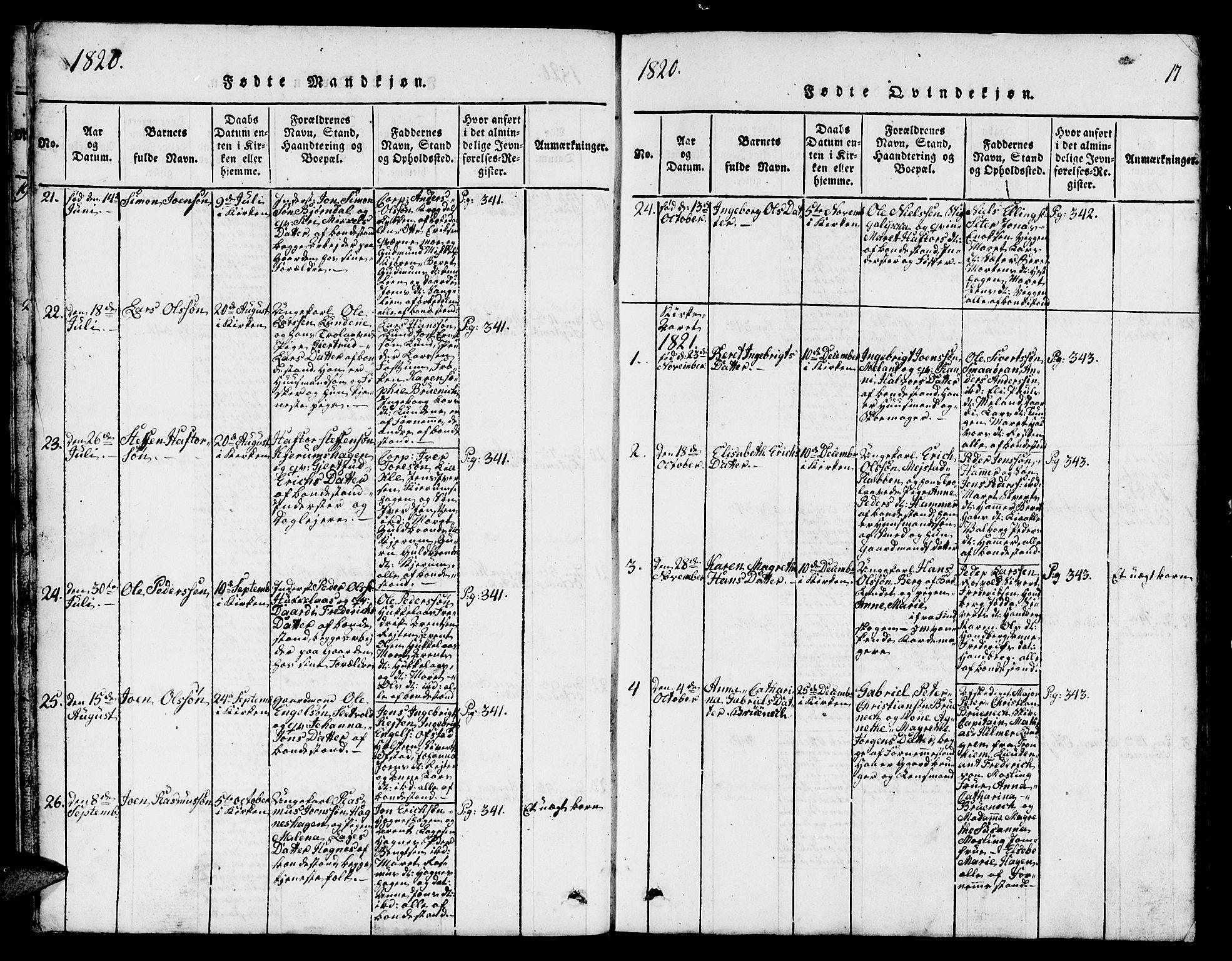 SAT, Ministerialprotokoller, klokkerbøker og fødselsregistre - Sør-Trøndelag, 665/L0776: Klokkerbok nr. 665C01, 1817-1837, s. 17