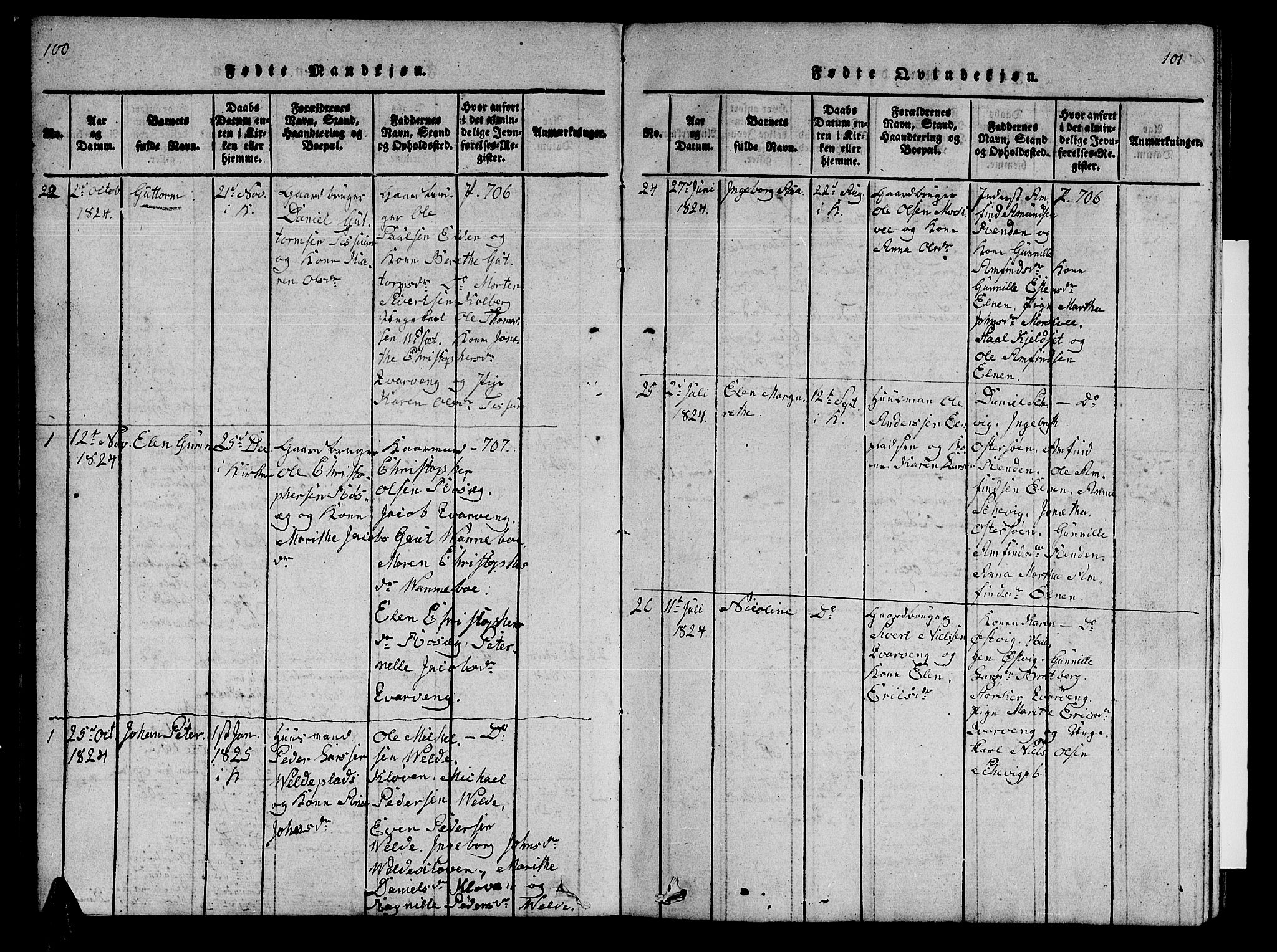 SAT, Ministerialprotokoller, klokkerbøker og fødselsregistre - Nord-Trøndelag, 741/L0400: Klokkerbok nr. 741C01, 1817-1825, s. 100-101