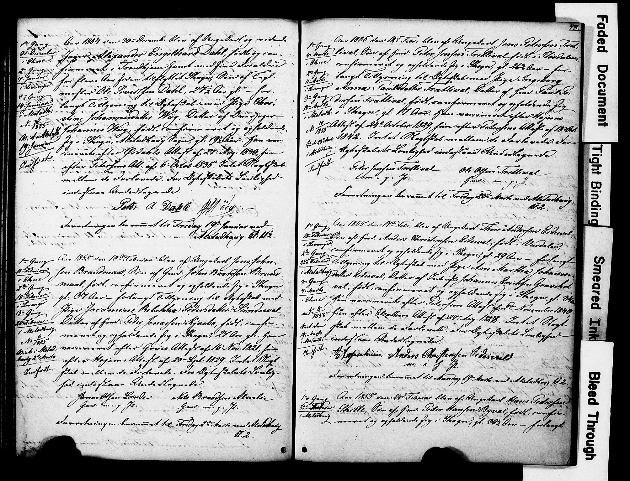 SAT, Ministerialprotokoller, klokkerbøker og fødselsregistre - Nord-Trøndelag, 717/L0161: Forlovererklæringer nr. 717A11, 1850-1895, s. 48