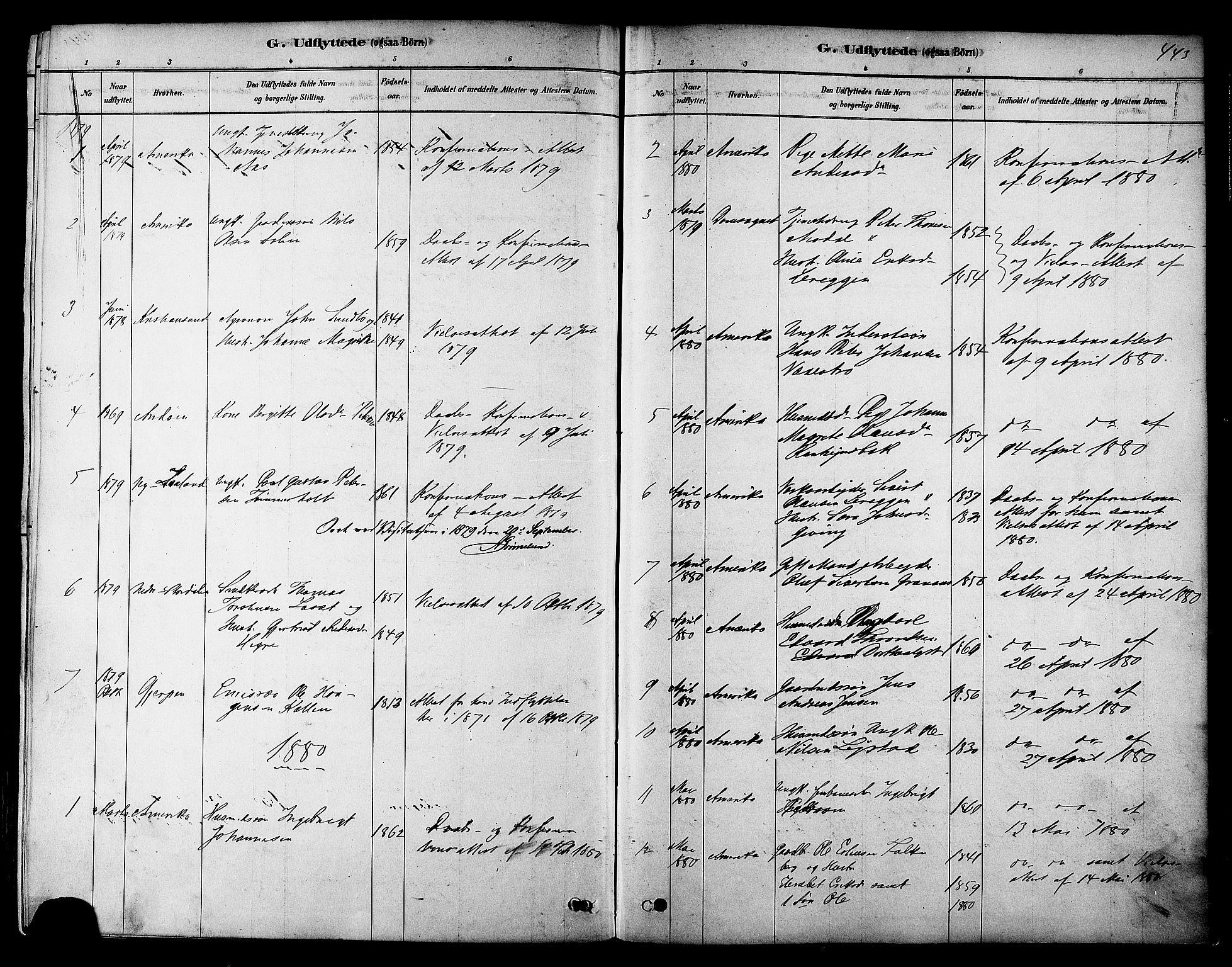SAT, Ministerialprotokoller, klokkerbøker og fødselsregistre - Sør-Trøndelag, 606/L0294: Ministerialbok nr. 606A09, 1878-1886, s. 443