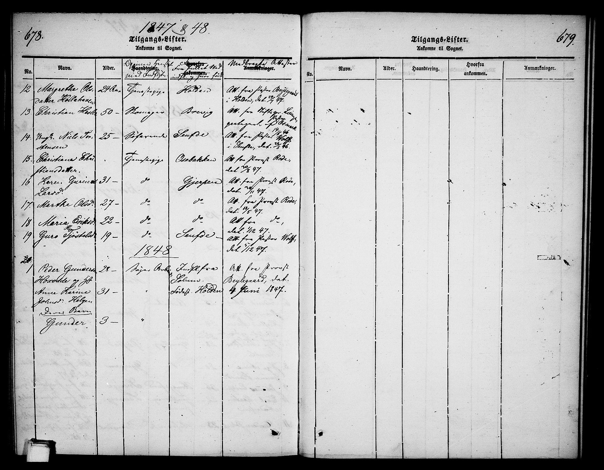 SAKO, Skien kirkebøker, G/Ga/L0003: Klokkerbok nr. 3, 1843-1847, s. 678-679