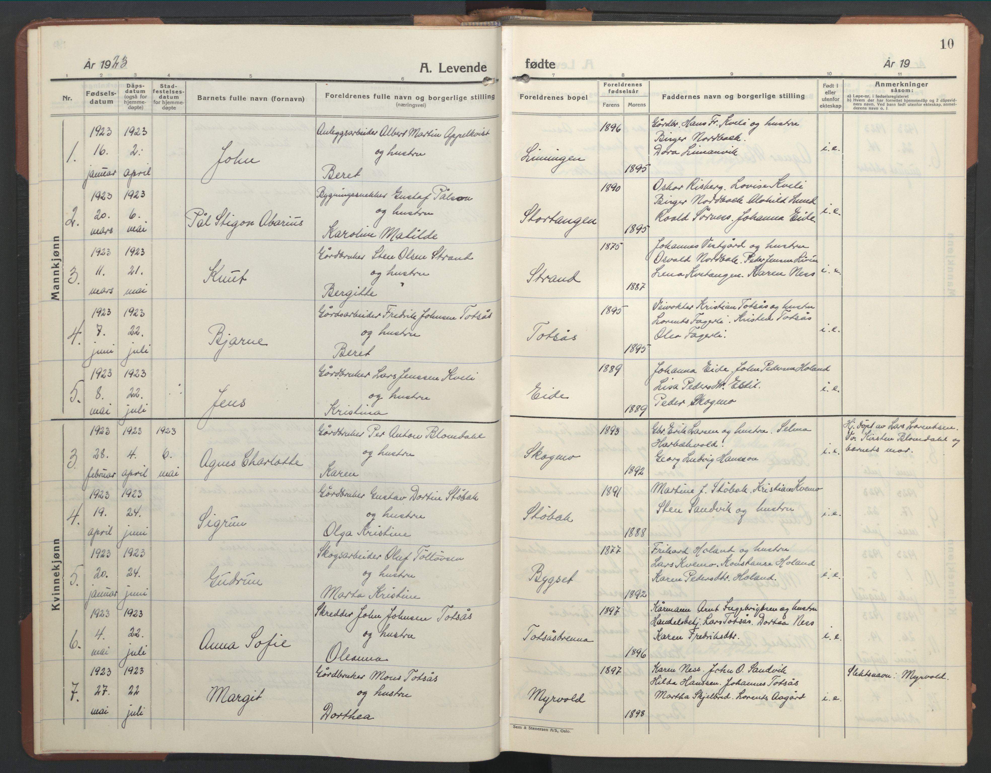 SAT, Ministerialprotokoller, klokkerbøker og fødselsregistre - Nord-Trøndelag, 755/L0500: Klokkerbok nr. 755C01, 1920-1962, s. 10