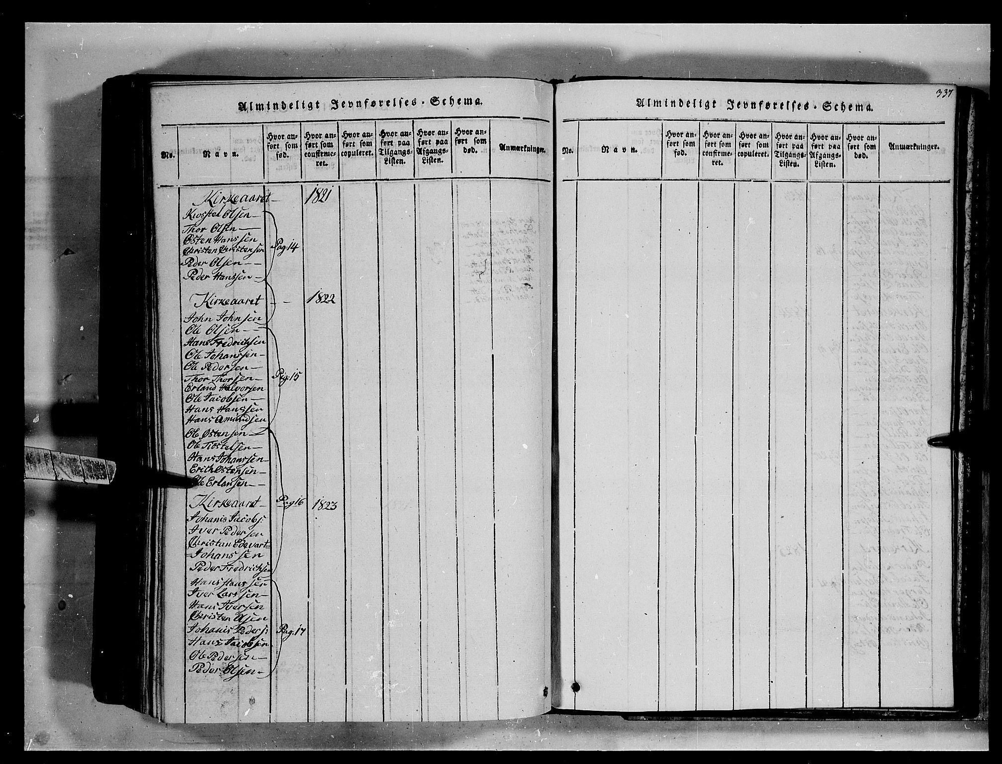 SAH, Fron prestekontor, H/Ha/Hab/L0002: Klokkerbok nr. 2, 1816-1850, s. 337