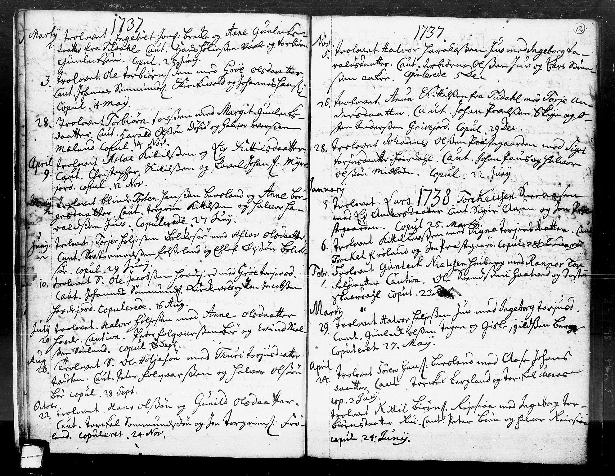 SAKO, Hjartdal kirkebøker, F/Fa/L0004: Ministerialbok nr. I 4, 1727-1795, s. 12