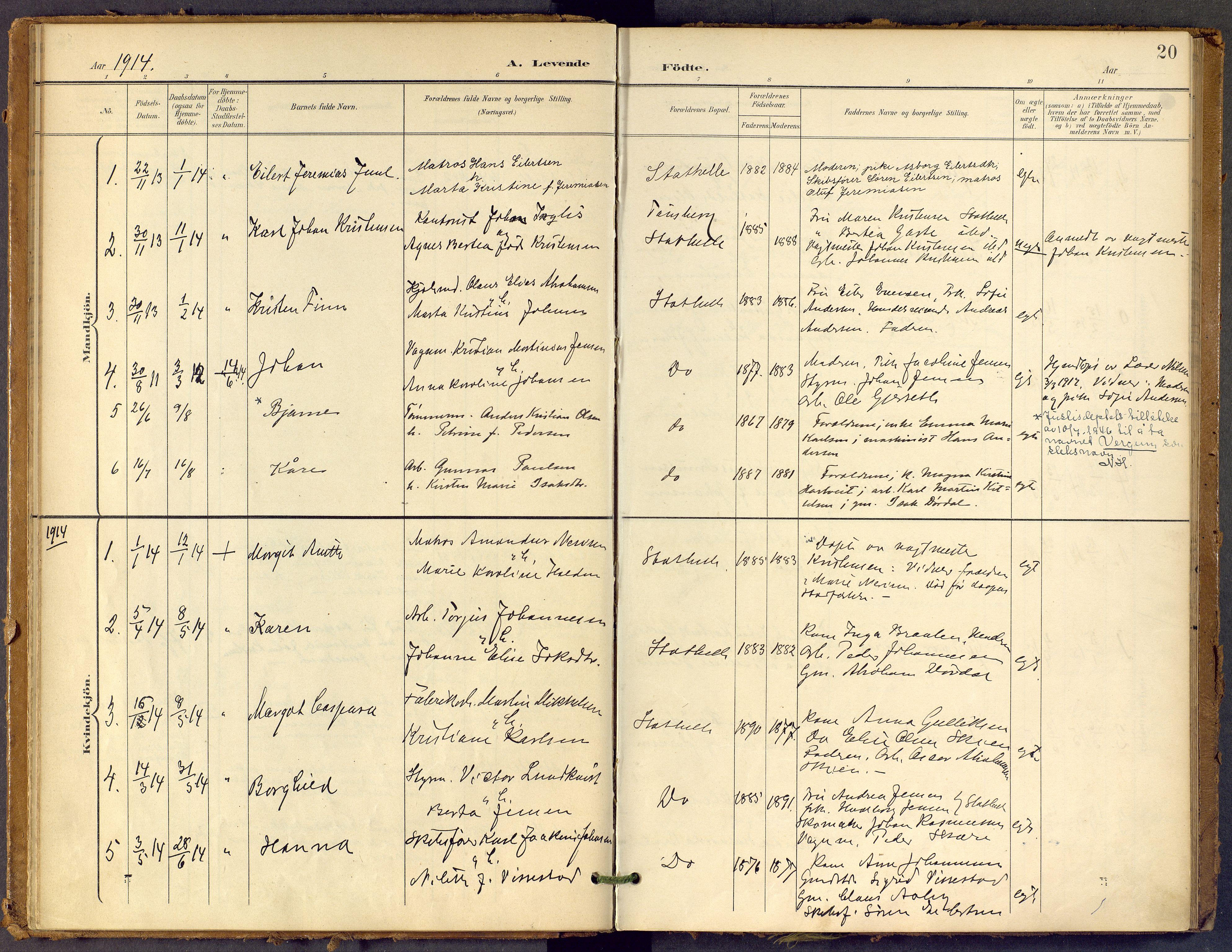 SAKO, Bamble kirkebøker, F/Fb/L0002: Ministerialbok nr. II 2, 1900-1921, s. 20