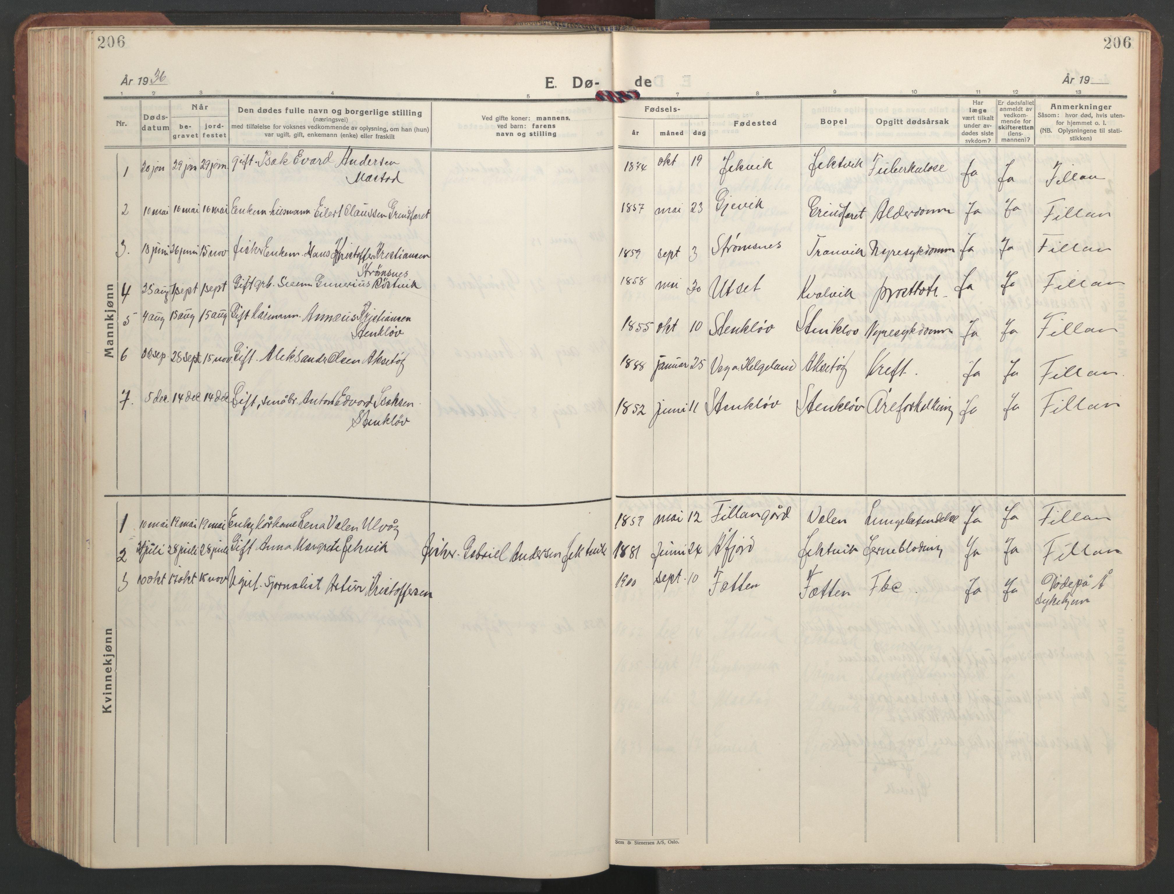 SAT, Ministerialprotokoller, klokkerbøker og fødselsregistre - Sør-Trøndelag, 637/L0564: Klokkerbok nr. 637C05, 1928-1968, s. 206